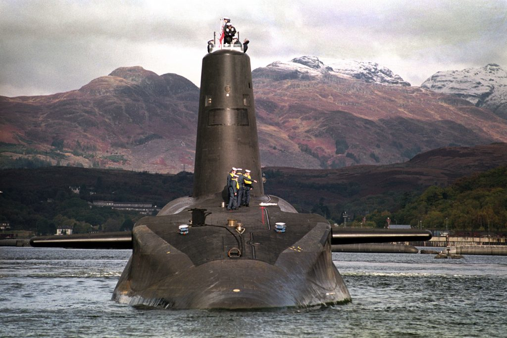 Four Trident-carrying Vanguard submarines are based at Faslane on the Clyde.