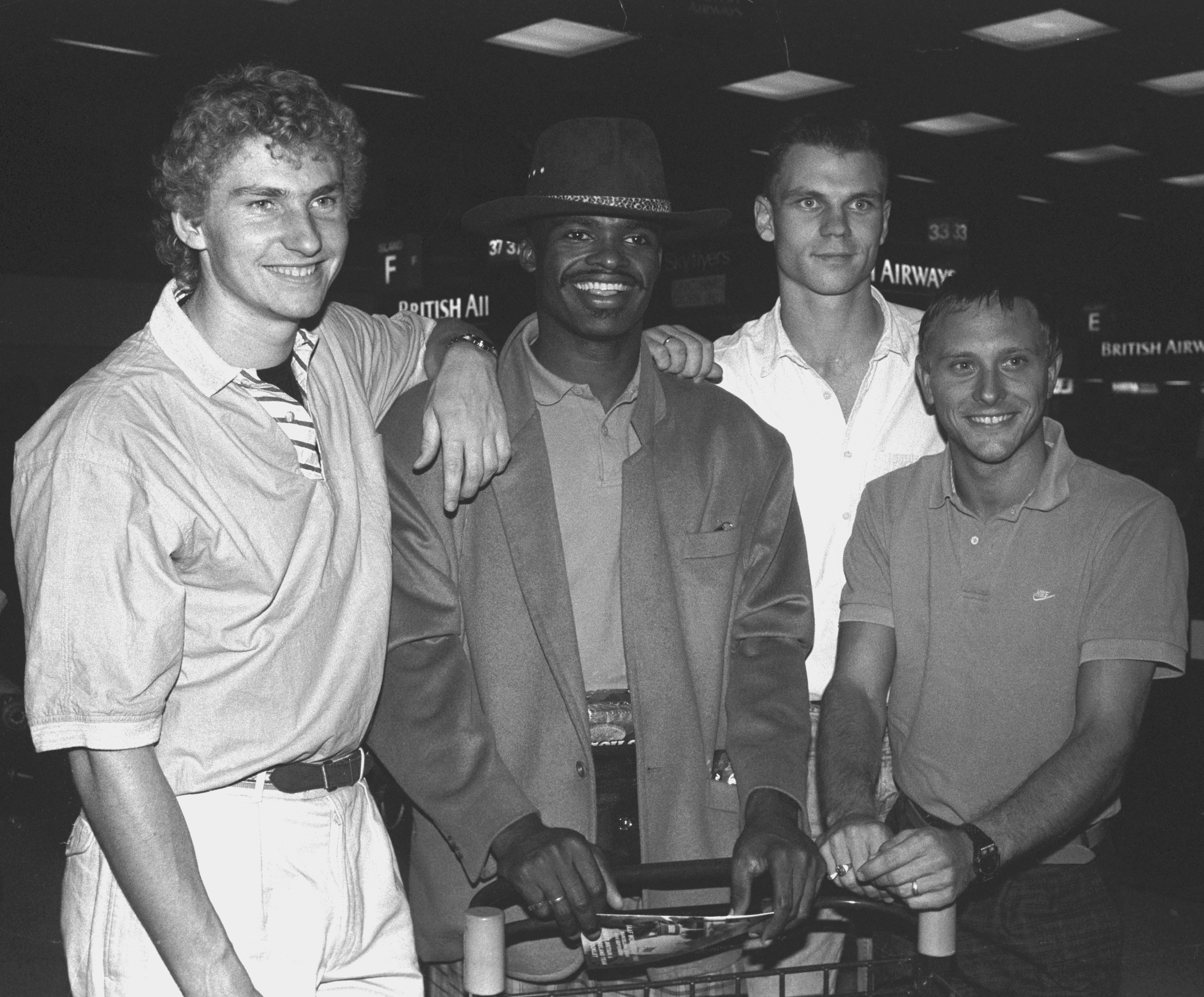 Brian Whittle, pictured in 1989 with fellow World Cup sprint athletes Kris Akabusi, Peter Crampton and Todd Bennett.