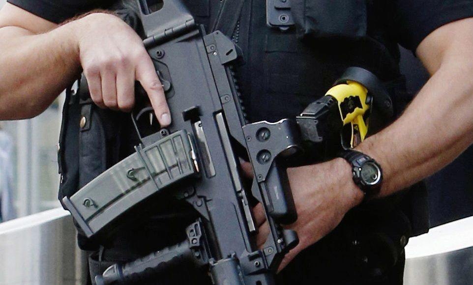 An armed Police Scotland officer.
