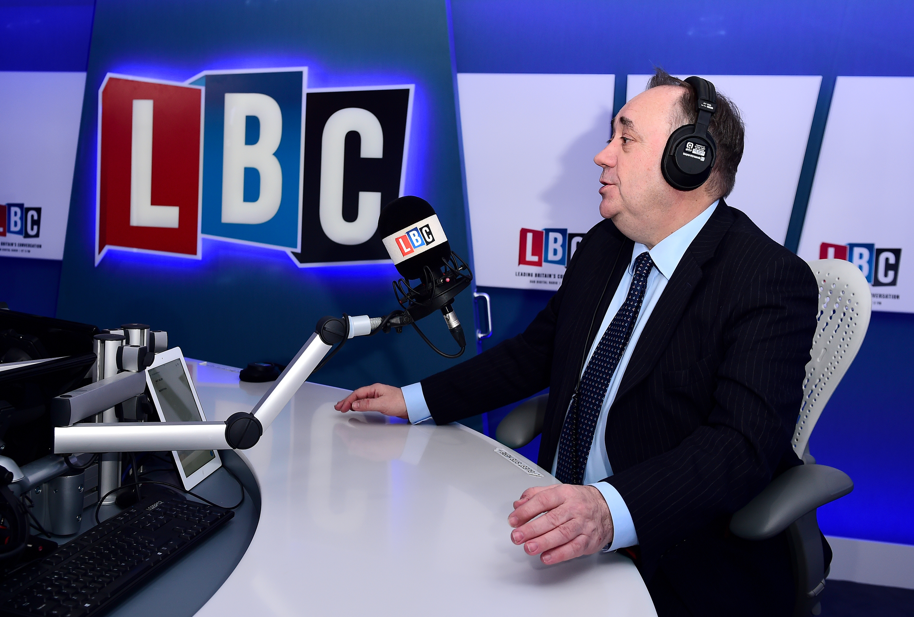 Alex Salmond takes part in his first live weekly phone-in on the national news talk radio station LBC.