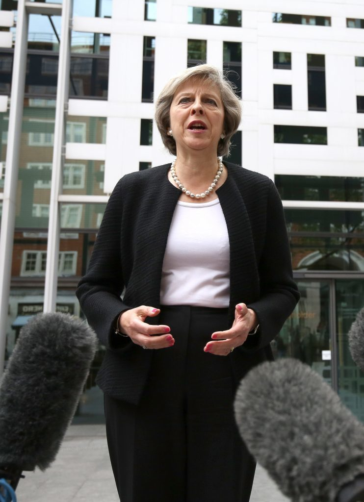 Home Secretary Theresa May speaks in central London following the death of Labour MP Jo Cox, who died after being shot and stabbed in the street outside her constituency advice surgery in Birstall, West Yorkshire. PRESS ASSOCIATION Photo. Picture date: Thursday June 16, 2016. The alleged gunman has been named locally as Tommy Mair, 52, who neighbours in Birstall have described as