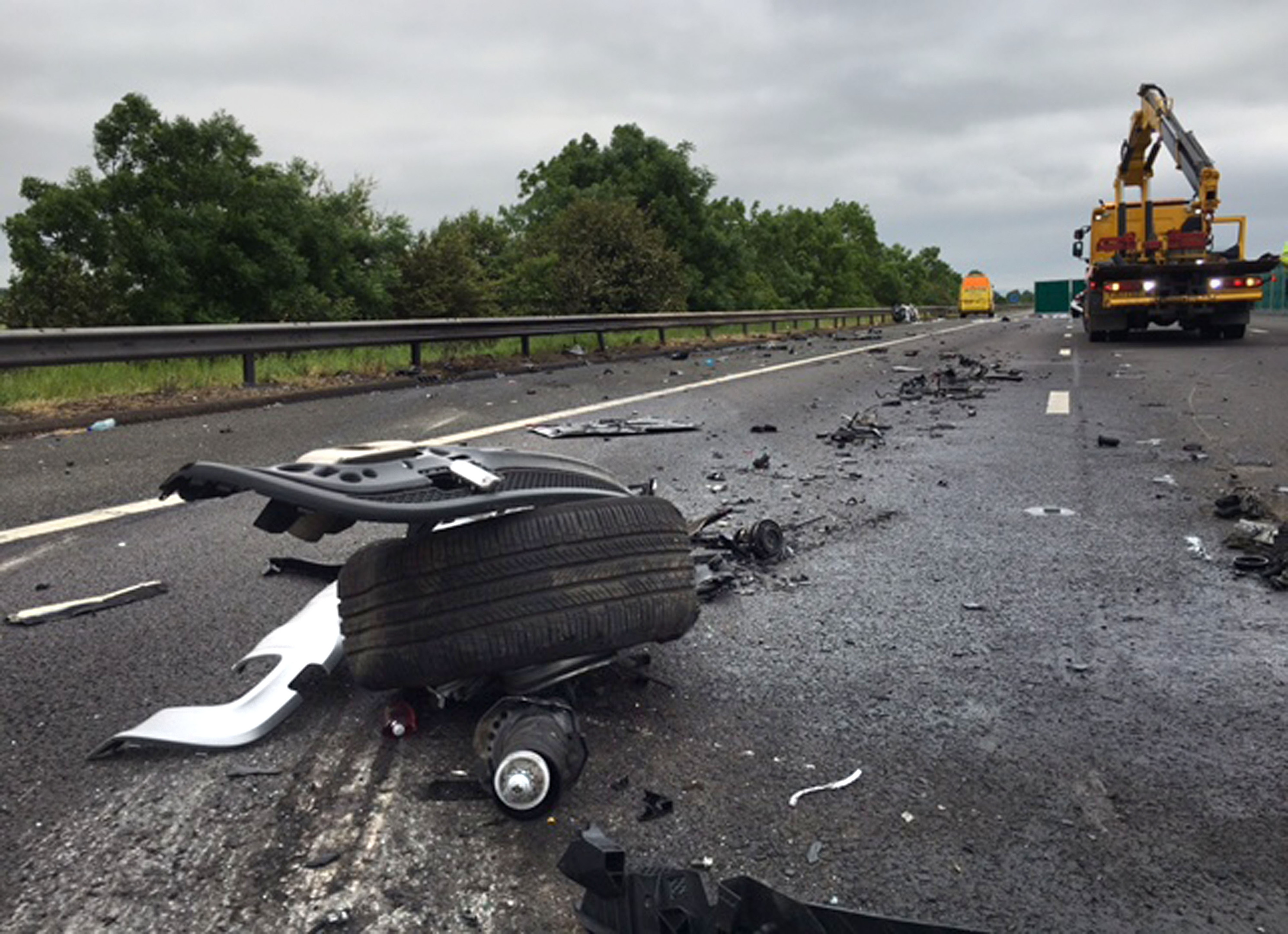 The scene of a crash on the M5 motorway.