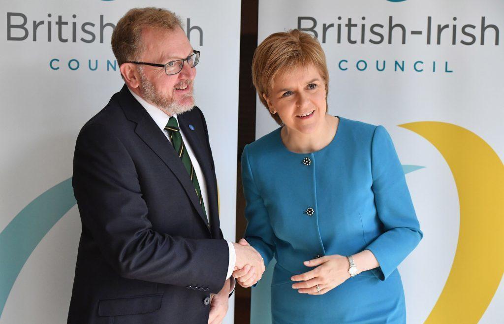 Scottish Secretary David Mundell and First Minister Nicola Sturgeon at the British Irish council in Glasgow.