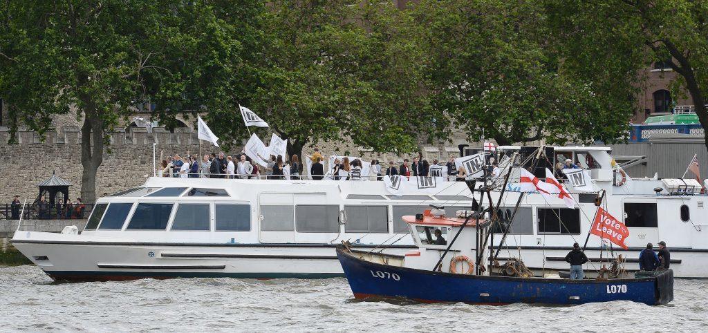 Bob Geldof on board a boat taking part in a pro-EU counter demonstration.