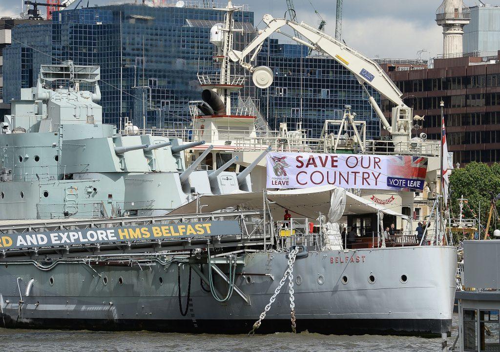 "A Fishing for Leave pro-Brexit ""flotilla"" passes HMS Belfast."