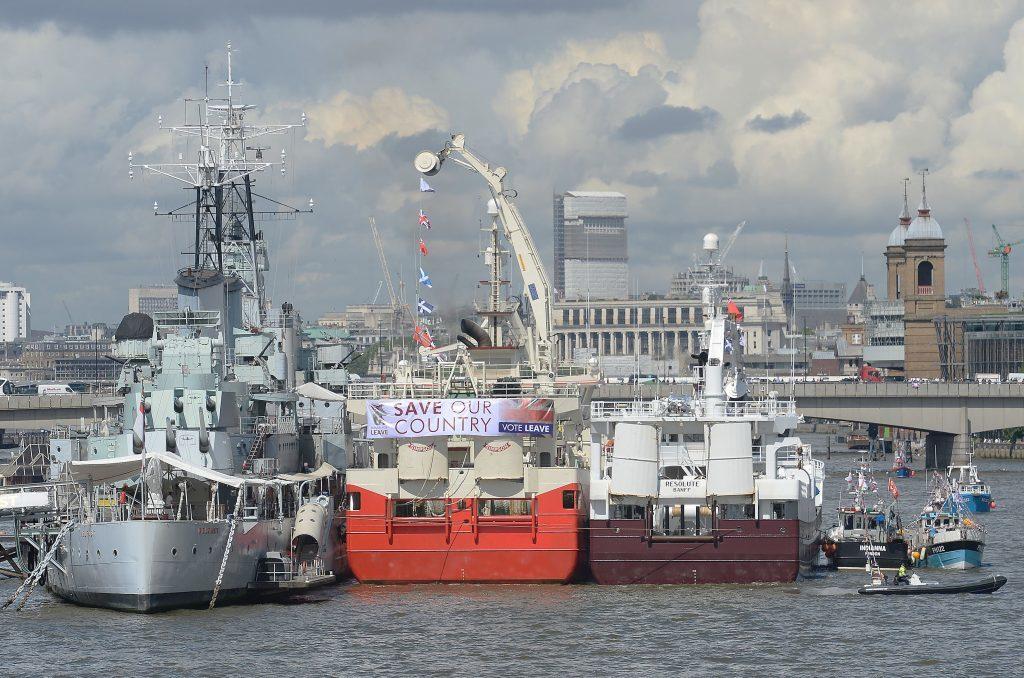 "The Fishing for Leave pro-Brexit ""flotilla"" alongside HMS Belfast."