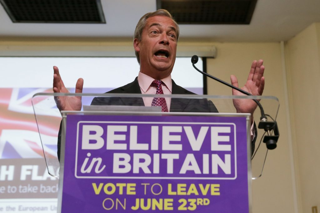 Ukip leader Nigel Farage delivers his final speech of the EU referendum campaign at the Emmanuel Centre in London.