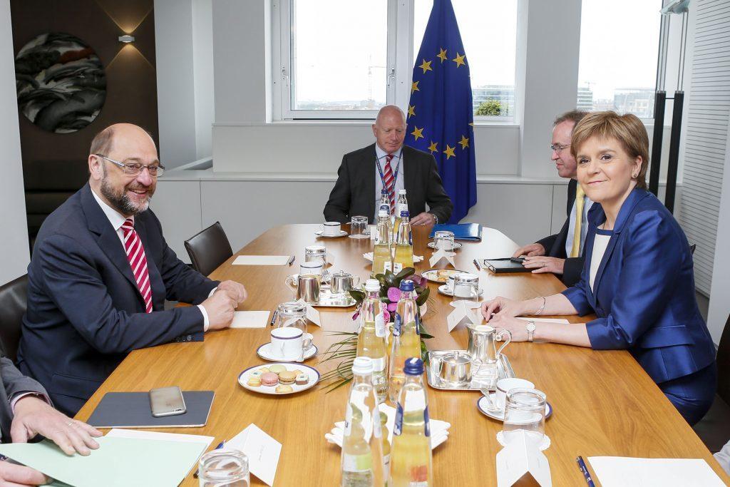 European Parliament President Martin Schulz meeting with First Minister Nicola Sturgeon.