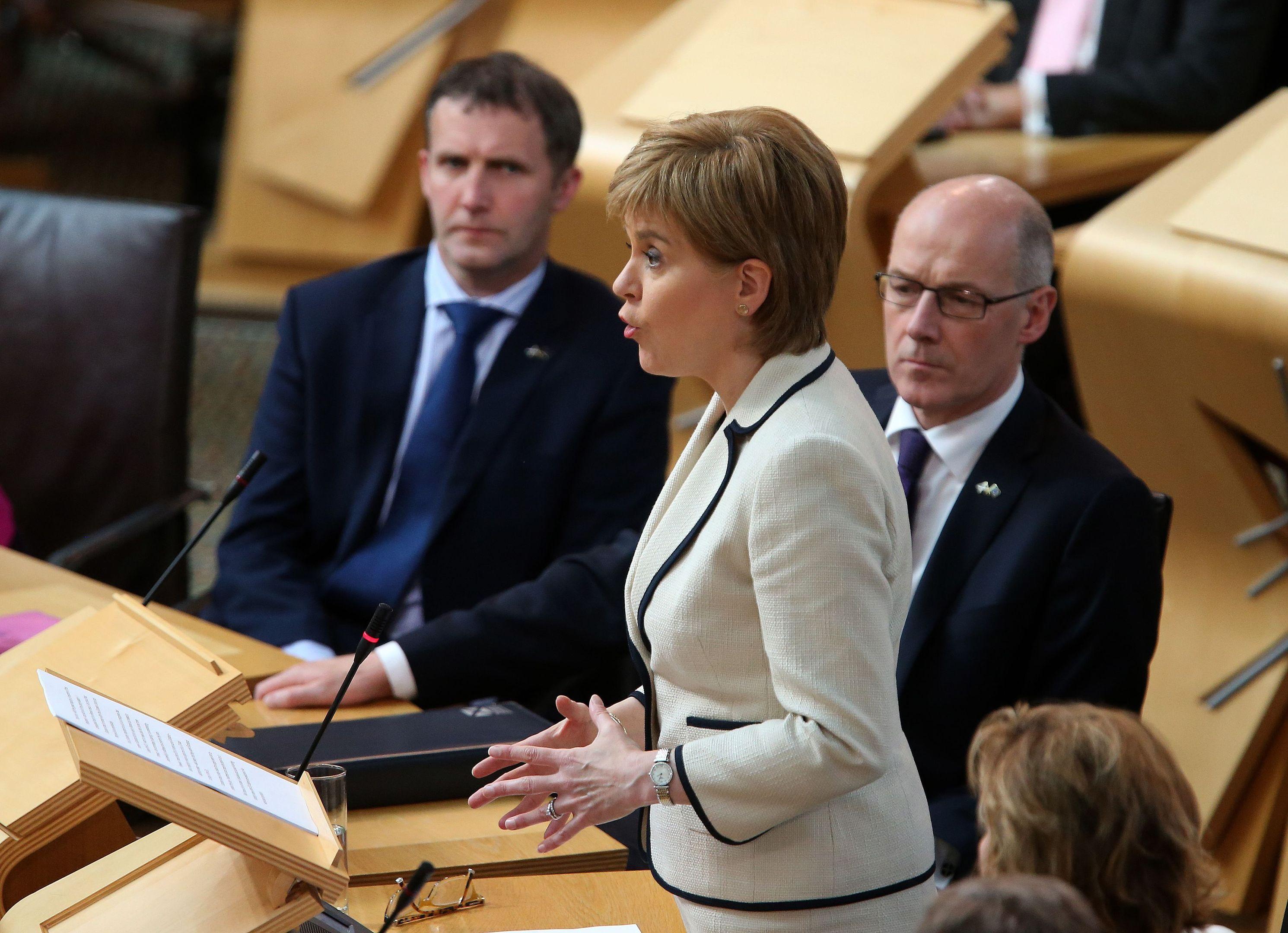Nicola Sturgeon addresses MSPs at Holyrood in the emergency debate.