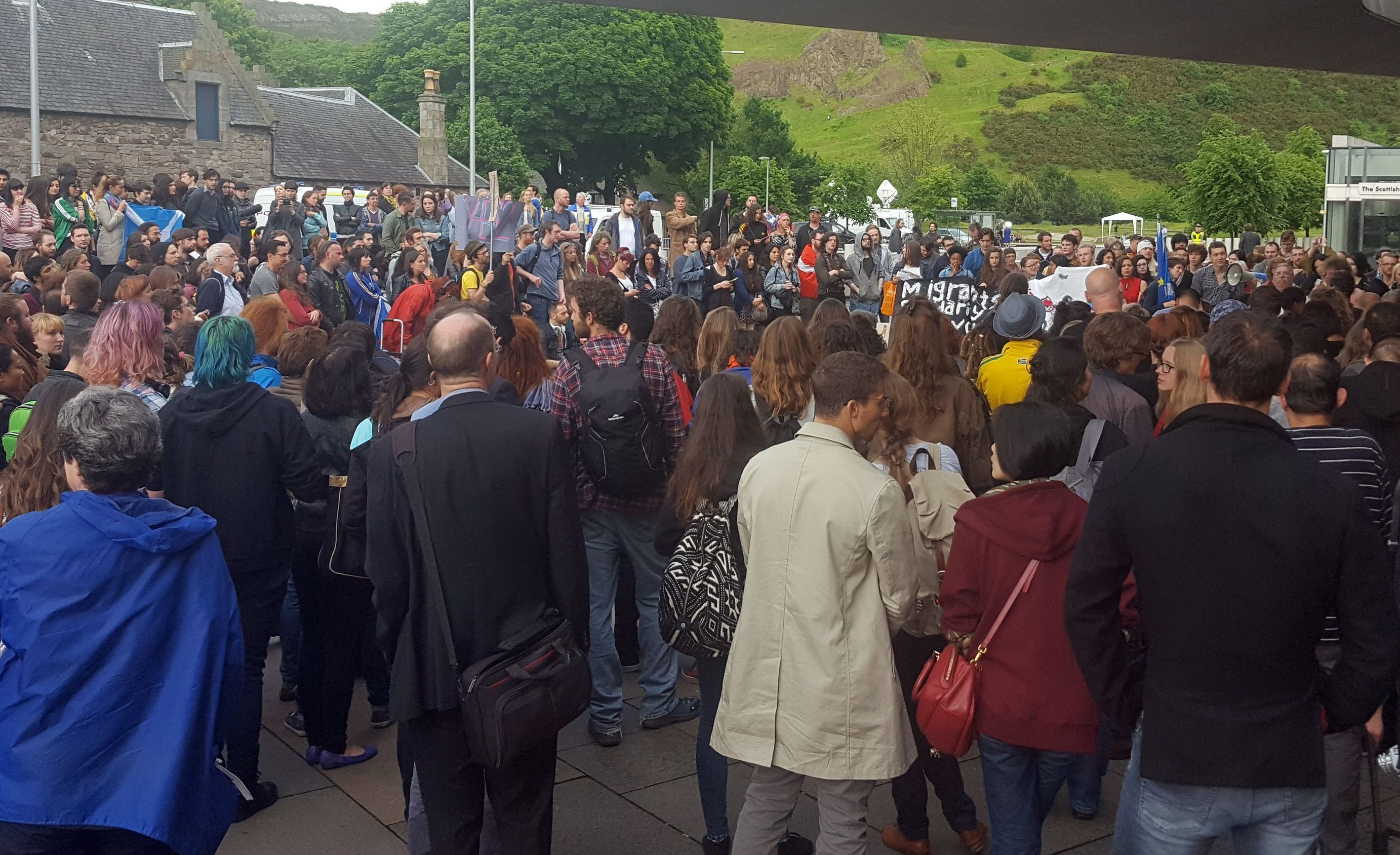 Protesters gathered outside the Scottish Parliament in Edinburgh on Friday night after the Brexit vote.
