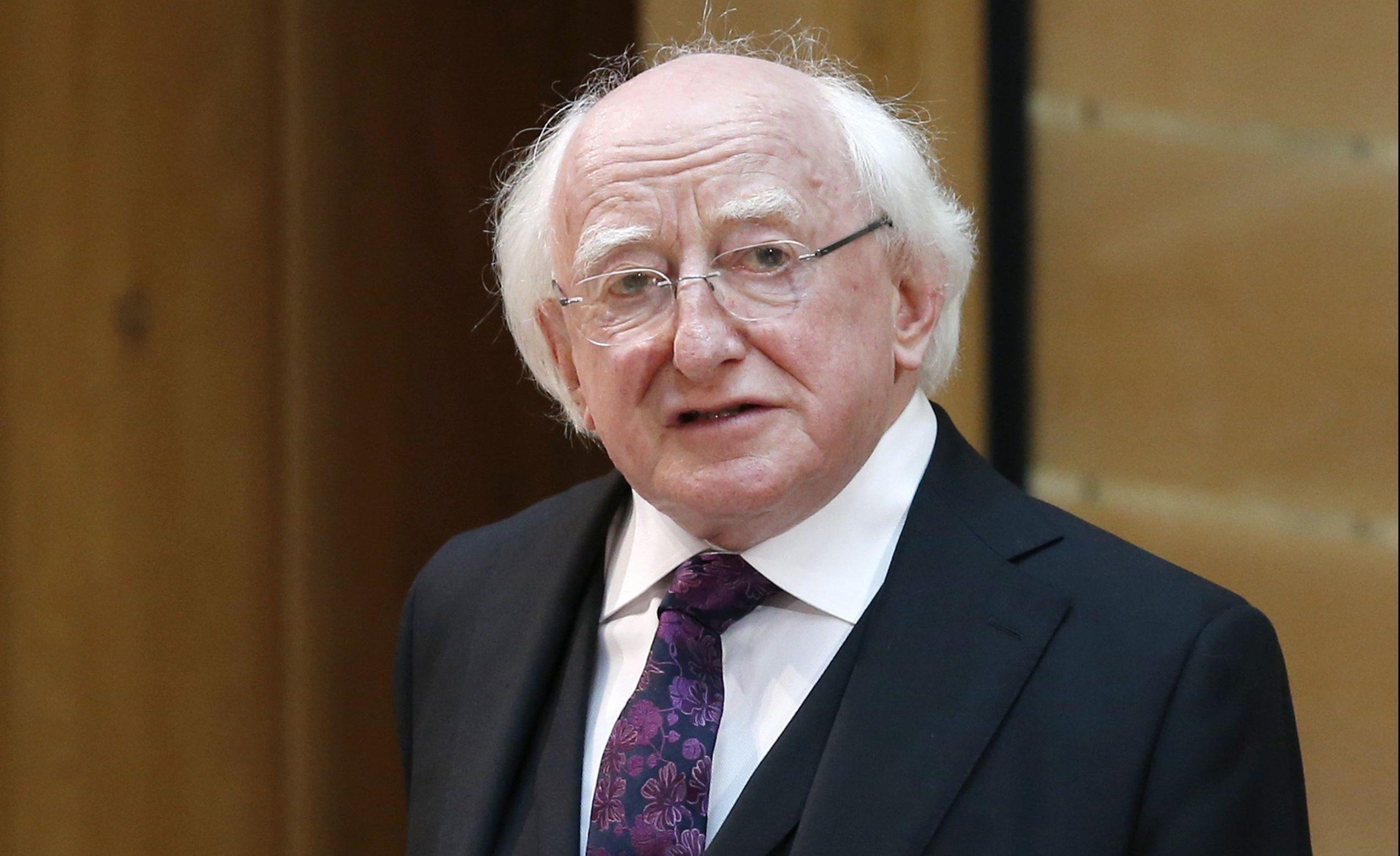 Irish president Michael D Higgins addresses MSPs in the main chamber of the Scottish Parliament.
