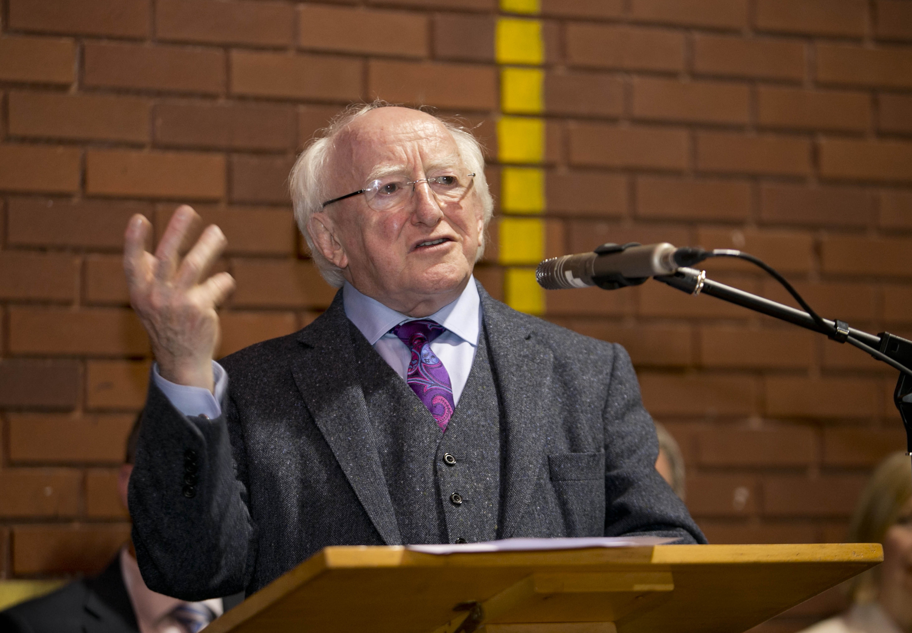 President Michael D Higgins during a visit to the the Govanhill Neighbourhood Centre, in Glasgow.