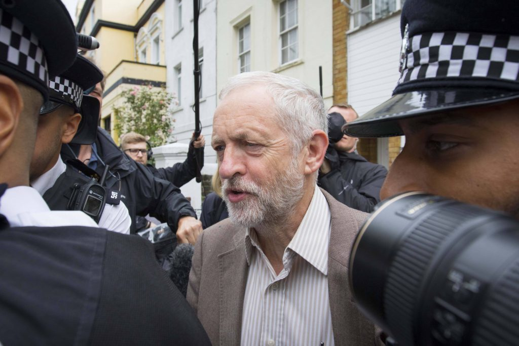 Labour Party leader Jeremy Corbyn leaves his home in north London, after he promoted key allies as the revolt against his leadership of the Labour Party continued.
