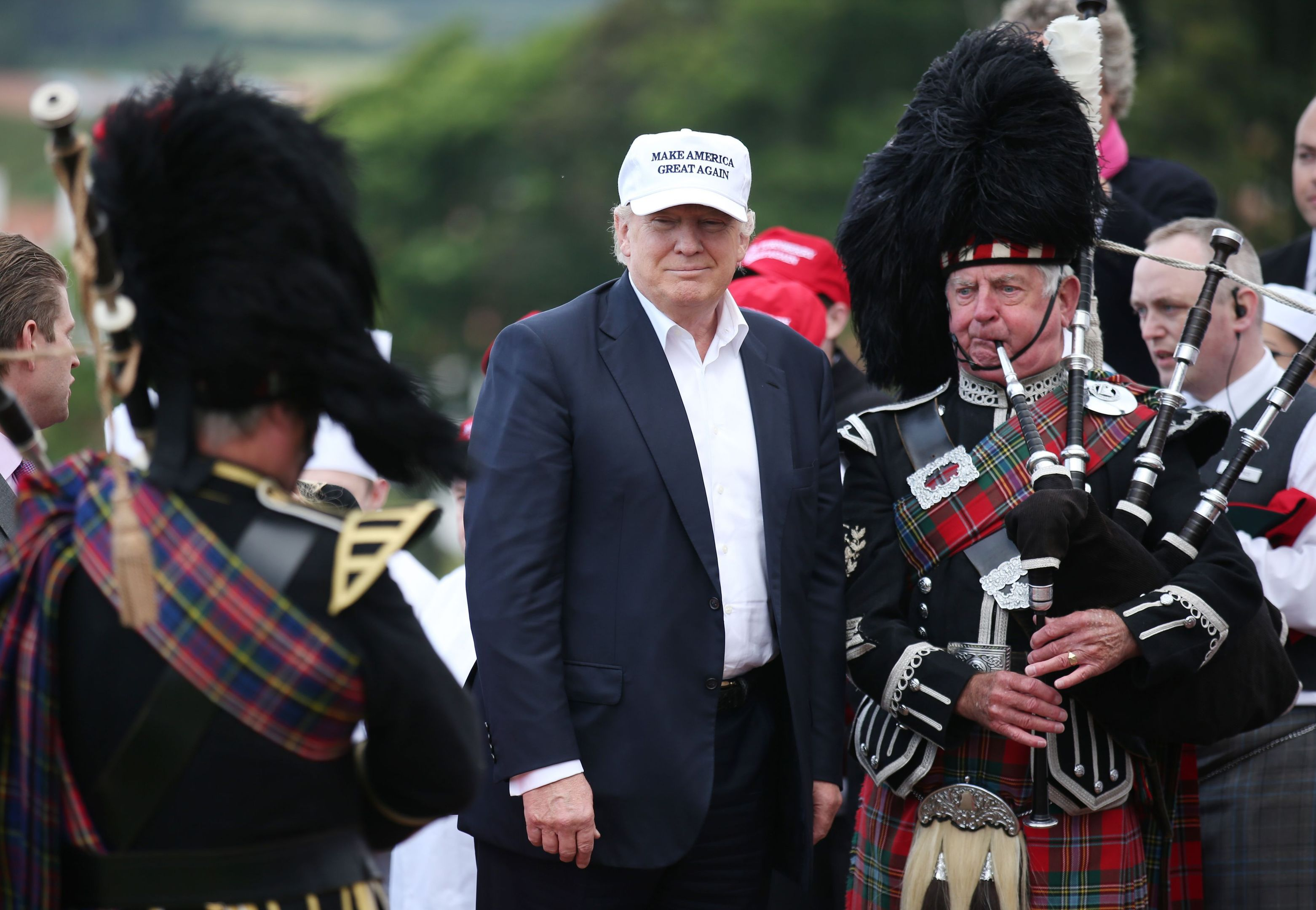 US presidential hopeful Donald Trump arrives at his revamped Trump Turnberry golf course in South Ayrshire.