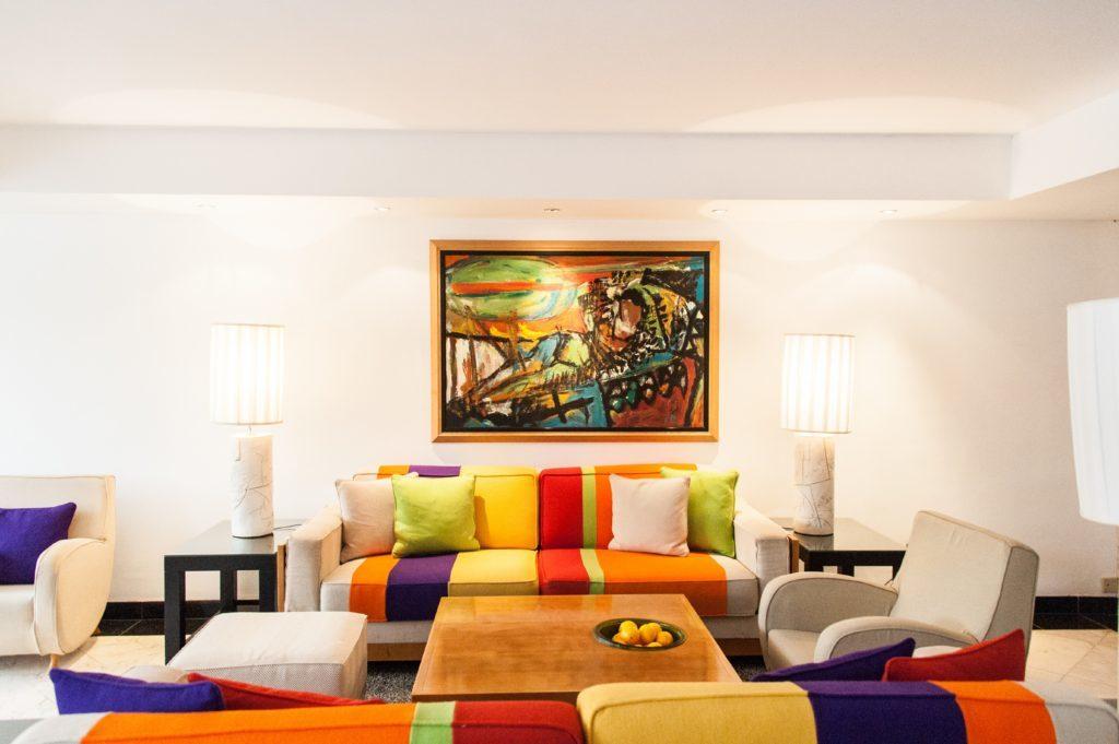 Inside Palm Beach Hotel.