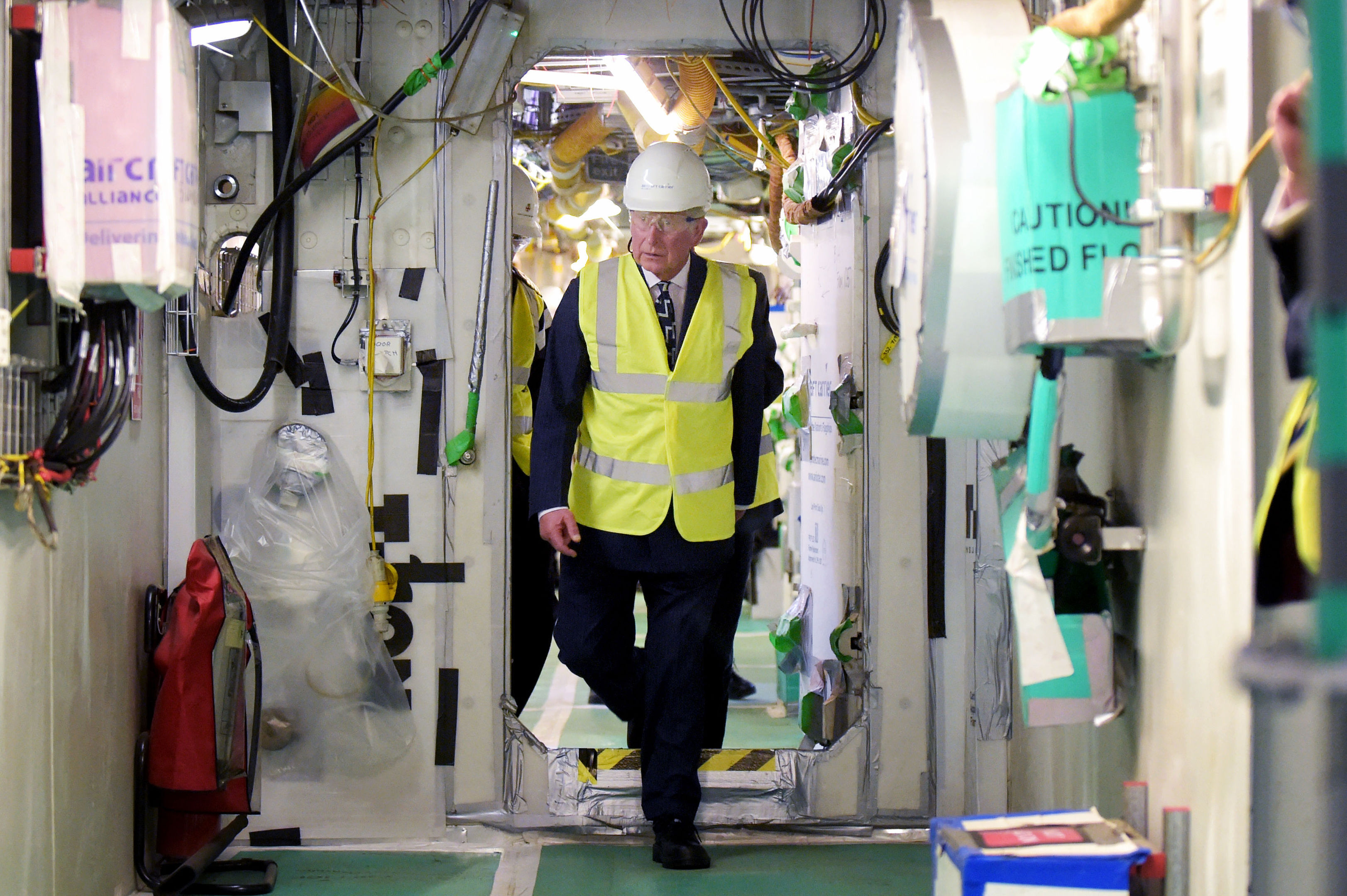The Prince toured the aircraft carriers in Rosyth.
