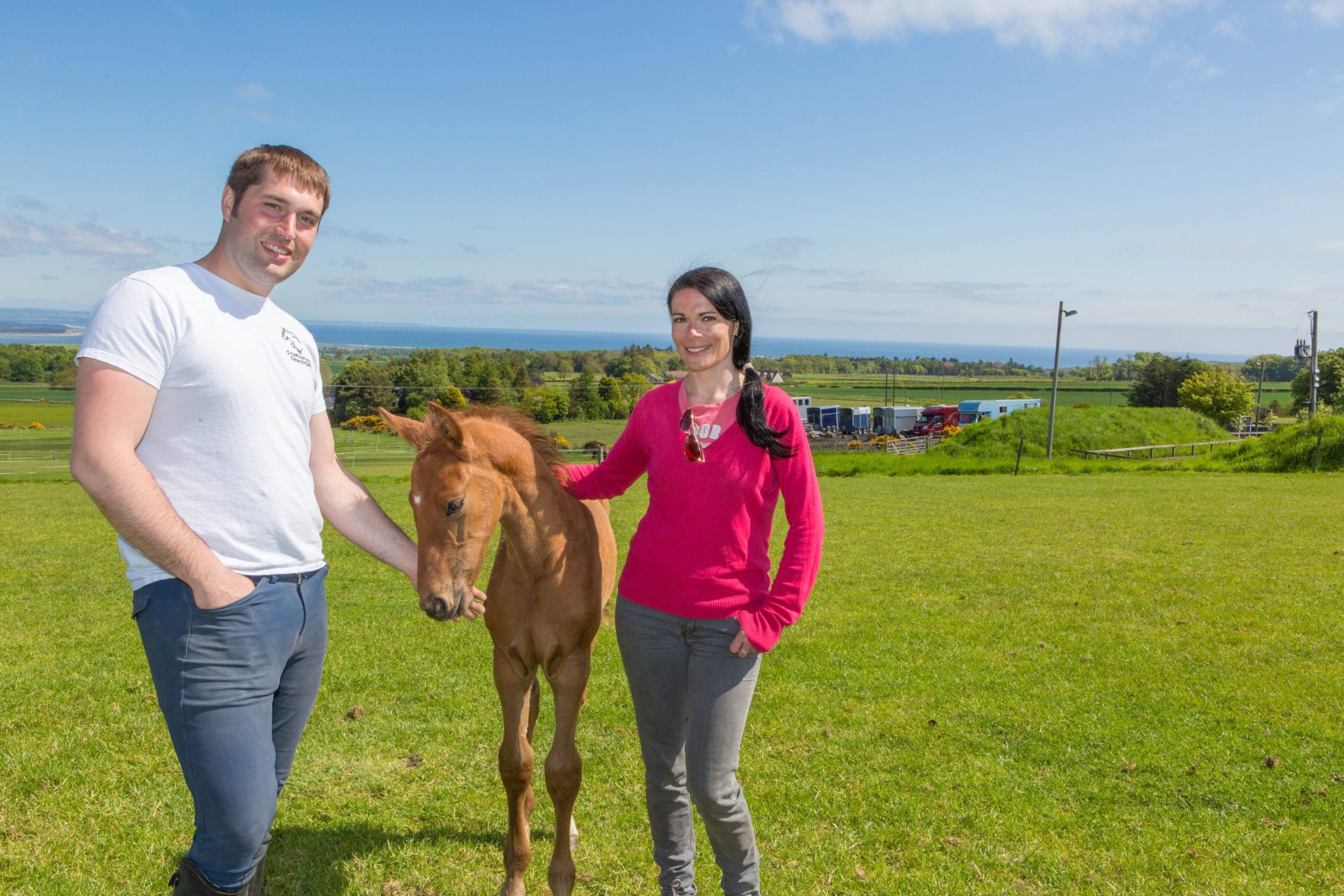 Stephen Lohoar and Gayle Ritchie with foal Lanson at Drumcarrow Equestrian.