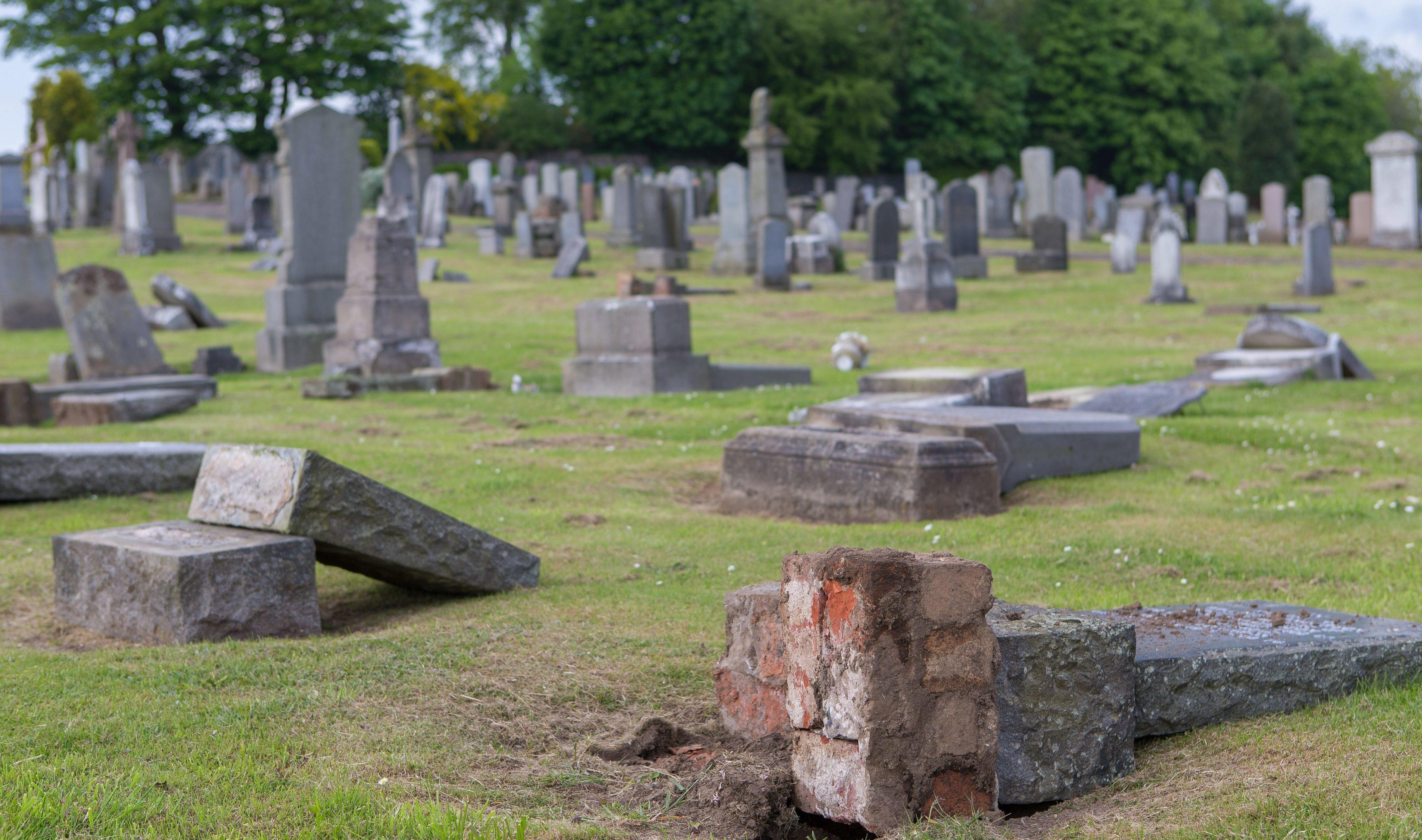 Leslie Cemetery vandalism.