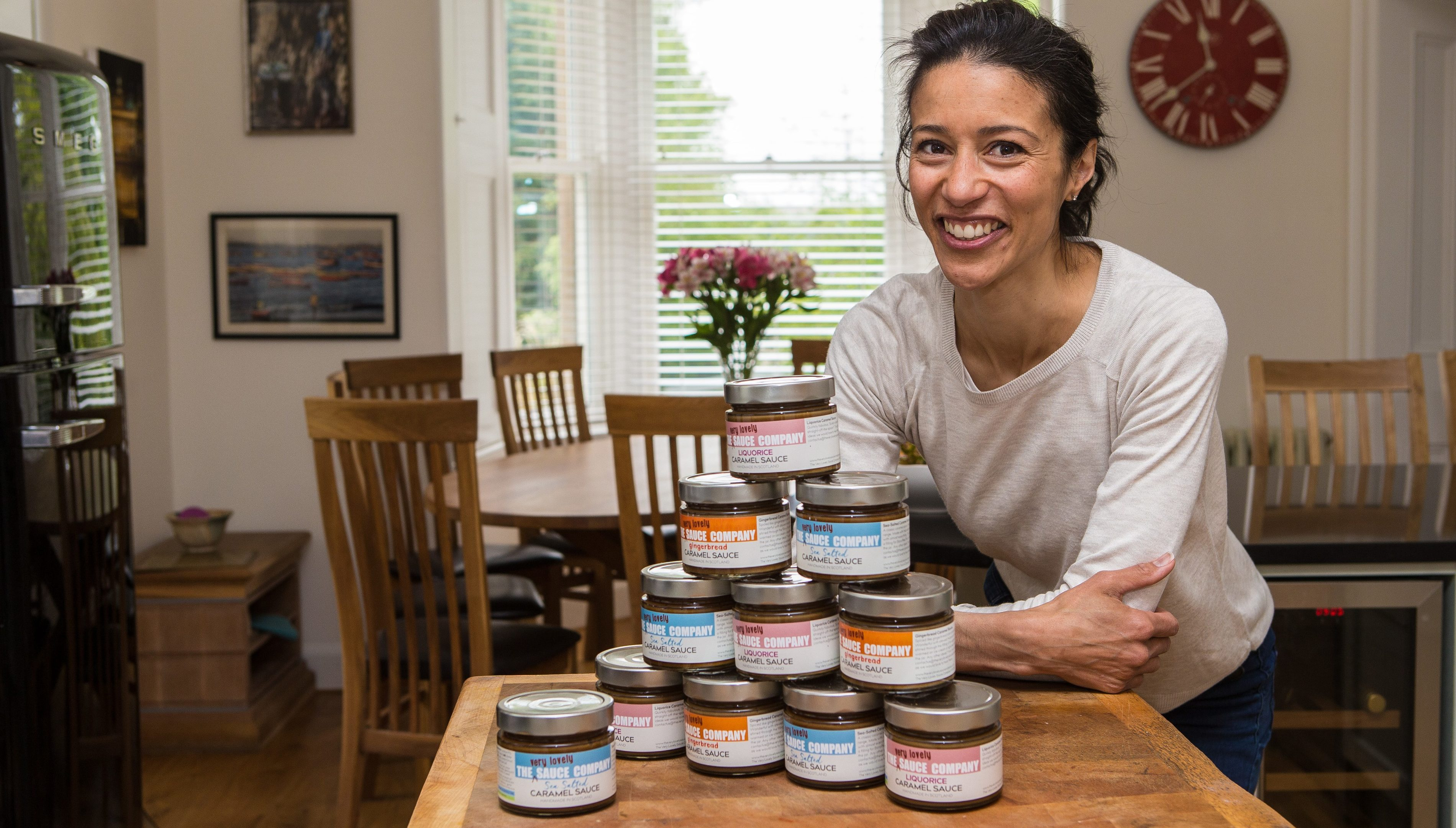 Michelle Wilkinson of The Very Lovely Sauce Company creating the delicious Gingerbread Caramel Sauce