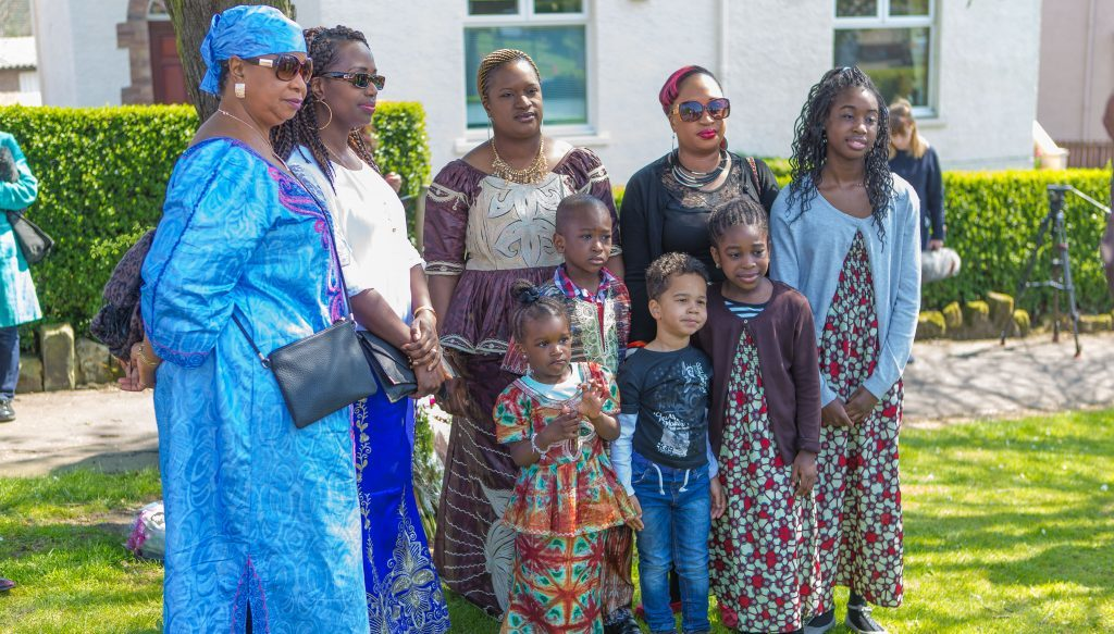Friends and family members paid tribute on the anniversary of the death of Sheku Bayoh