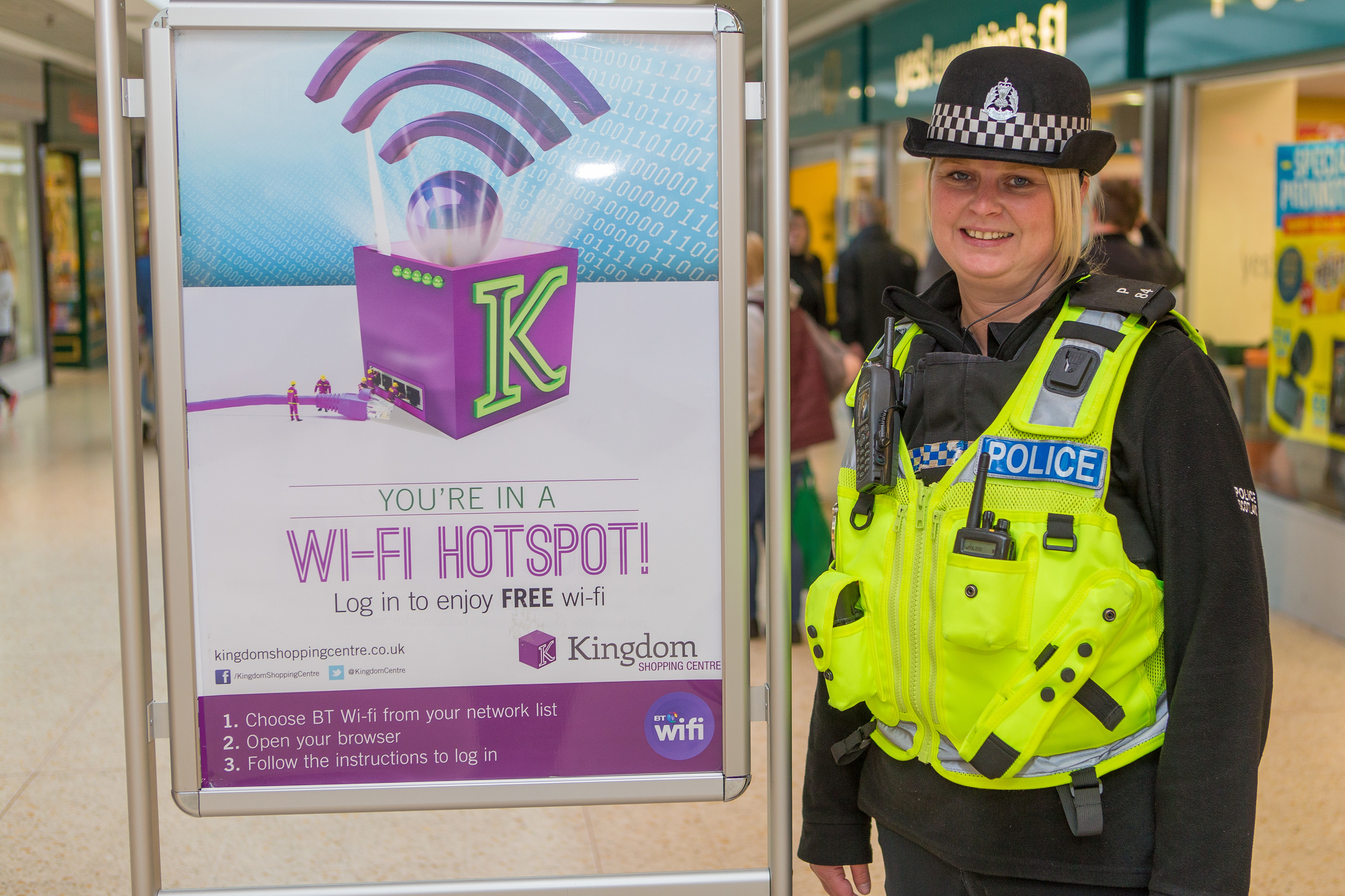 PC Leanne St Aubyn at the free wifi advertisements inside Kingdom Centre in Glenrothes.