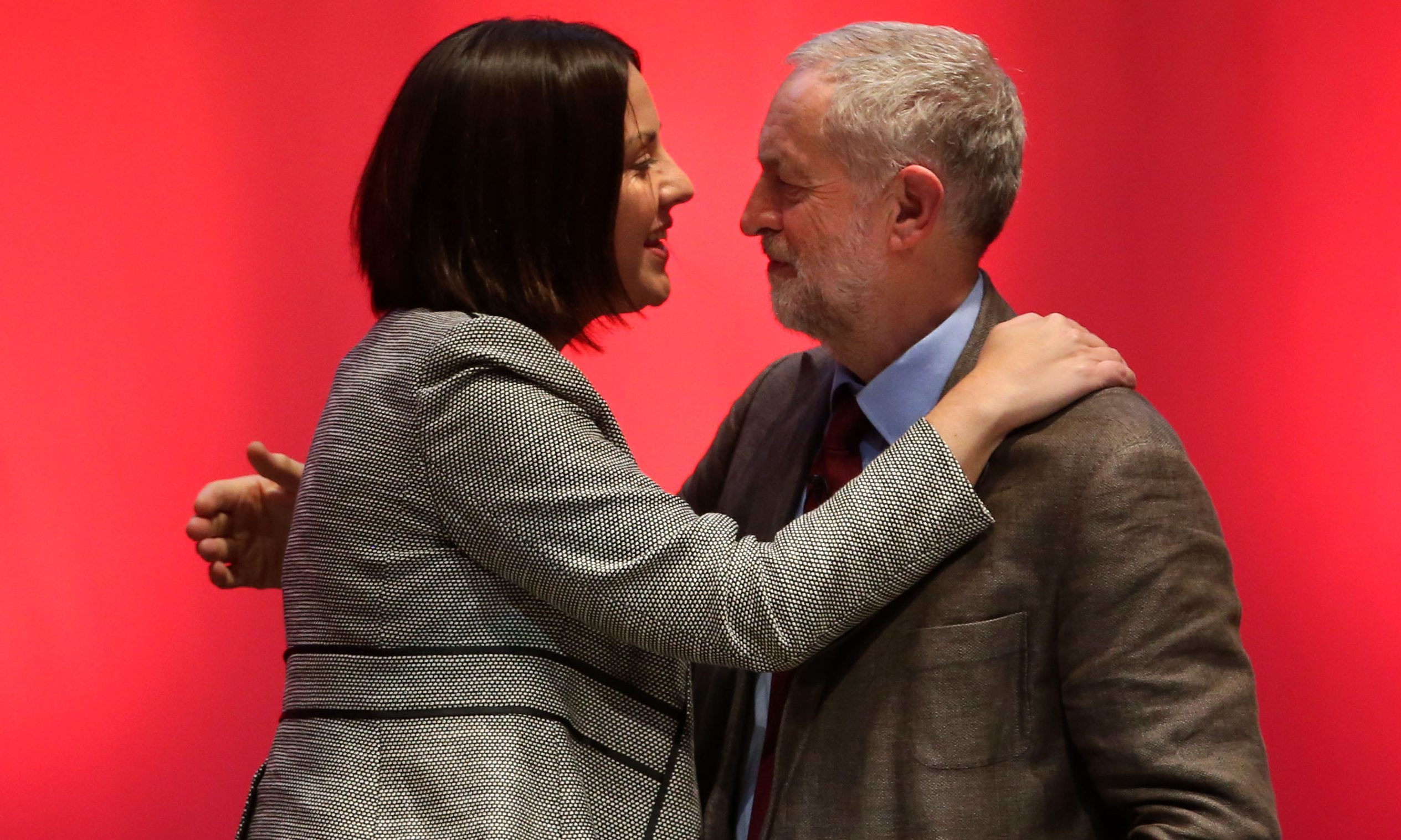 Labour leader Jeremy Corbyn with Scottish Labour leader Kezia Dugdale after his speech at Perth Concert Hall on the first day of the Scottish Labour conference.