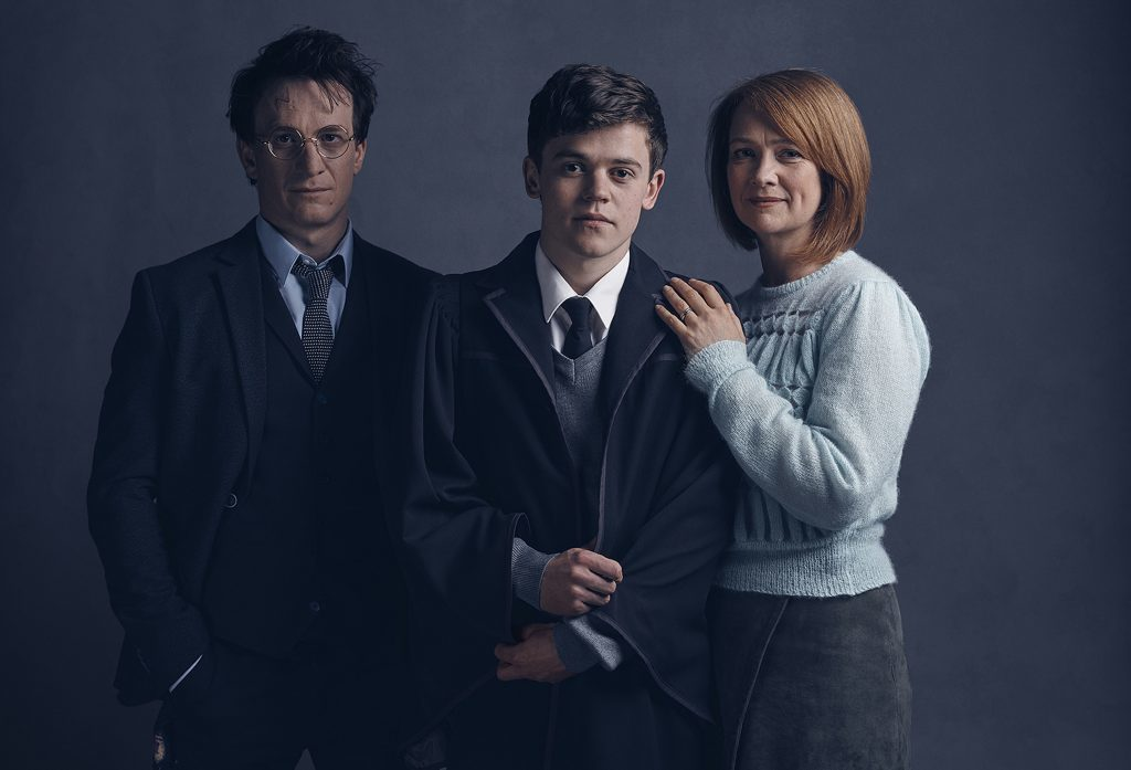 From left: Jamie Parker, Sam Clemmett and Poppy Miller who will play Harry Potter, Albus Potter and Ginny Potter respectively in the Harry Potter And The Cursed Child stage play.