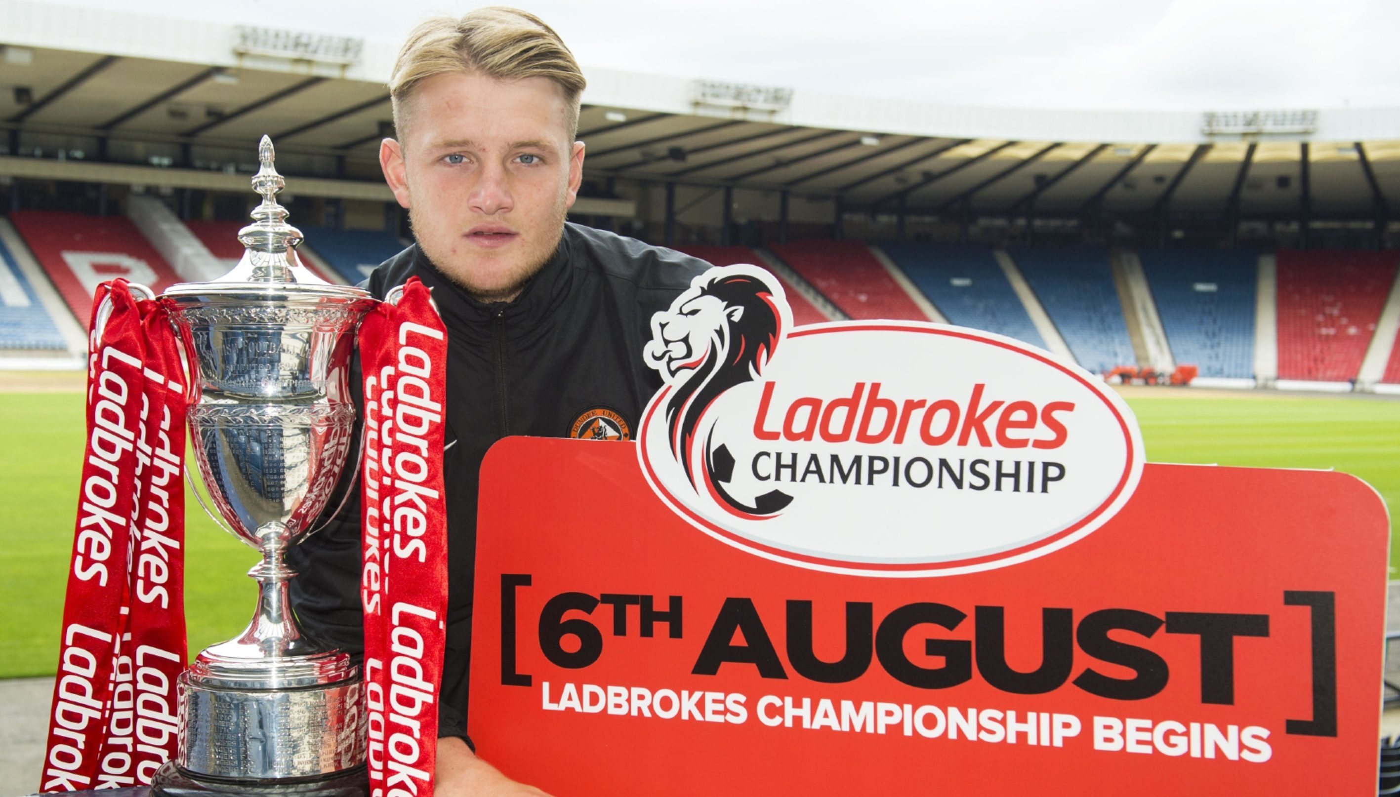 Dundee United's Coll Donaldson at the fixture list announcement at Hampden.