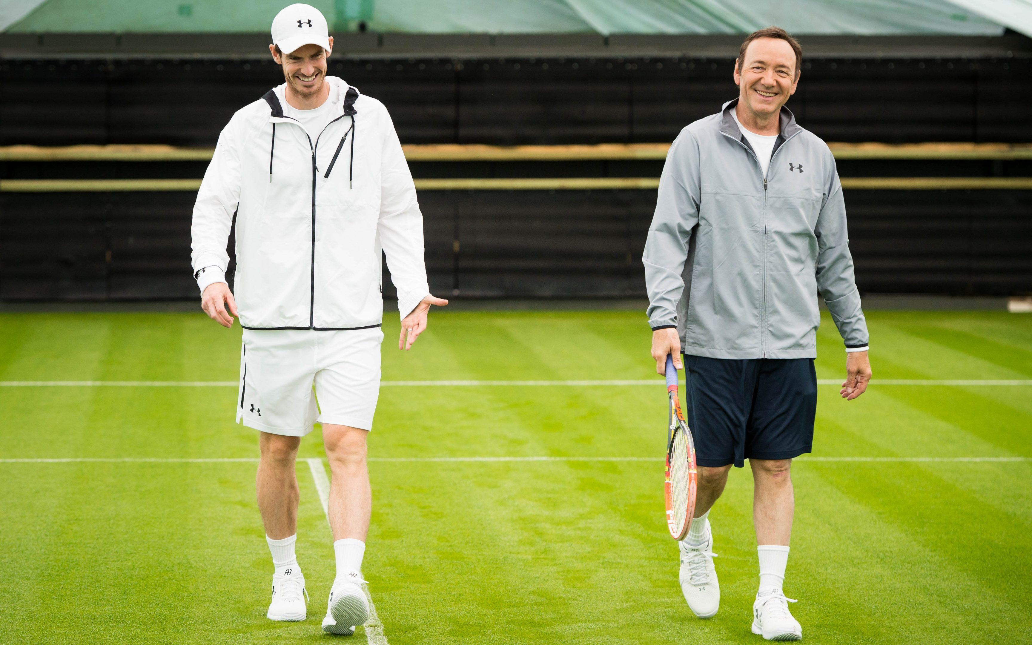 Andy Murray and Kevin Spacey on the All England Club's Centre Court as they help launch WWF's campaign to double the number of tigers in the wild by the year 2022.
