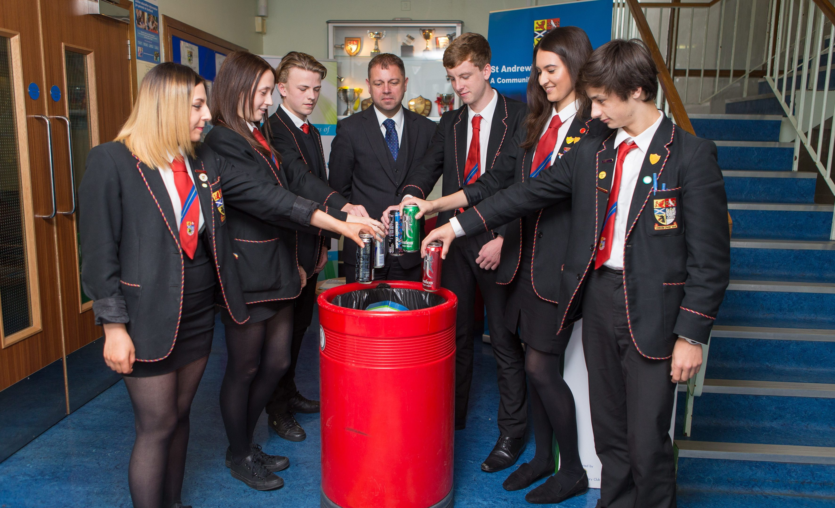 Pupils from St Andrews High School in Kirkcaldy fully support The Courier 'Can It' campaign to have energy drinks banned from the school. Pictured from left are Brooklin Faulds, Jill Clelland, Callum Perkind, rector Patrick Callaghan, Eoin Garvey, Anna Machado and Daniel Penman.