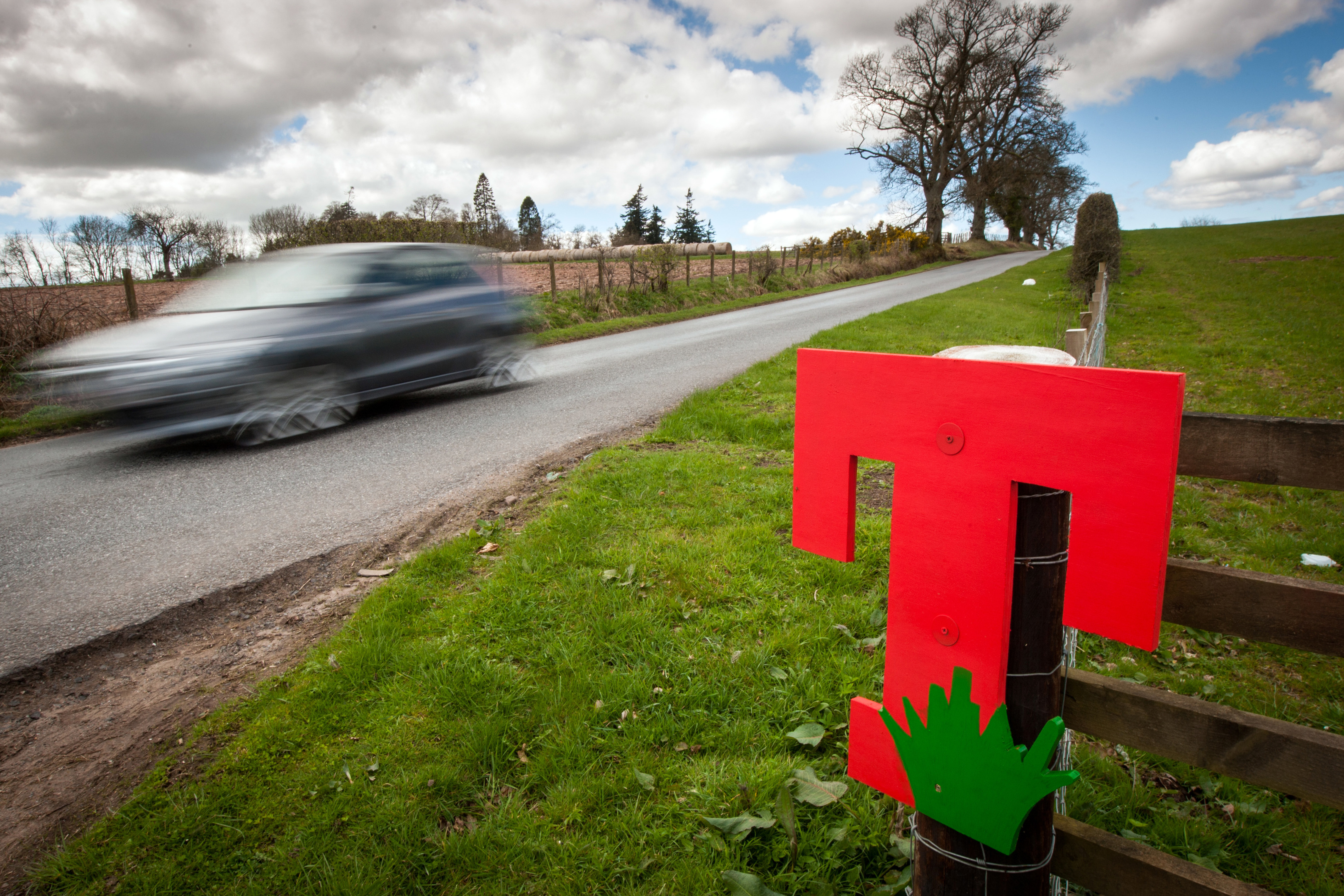 T signs were installed by residents around the Strathallan site.