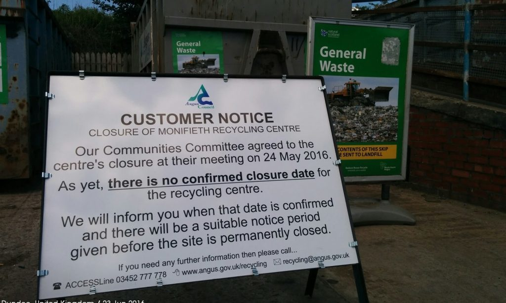 Monifieth is to lose its recycling centre.