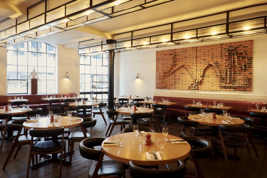 Interior of the Hixter Bankside restaurant, in London.