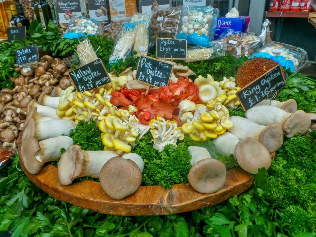 Mushroom stall at Borough Market.