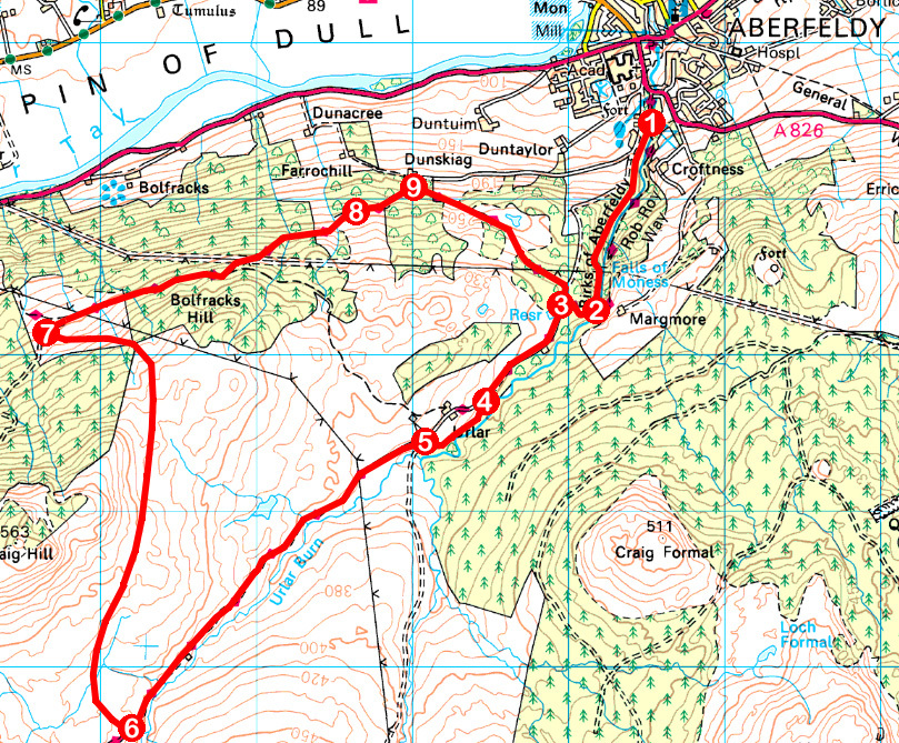 Take a Hike 117 - June 18, 2016 - Moness Den and Urlar, Aberfeldy, Perth & Kinross OS map extract