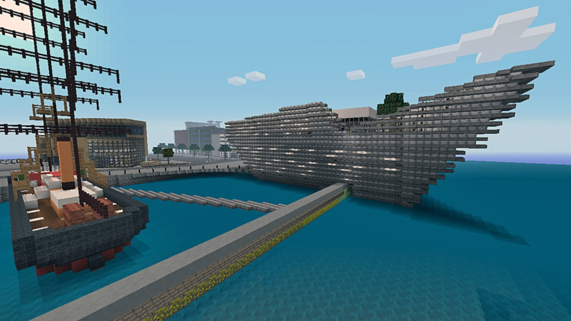 A view of the new V&A Dundee design museum created in Minecraft.