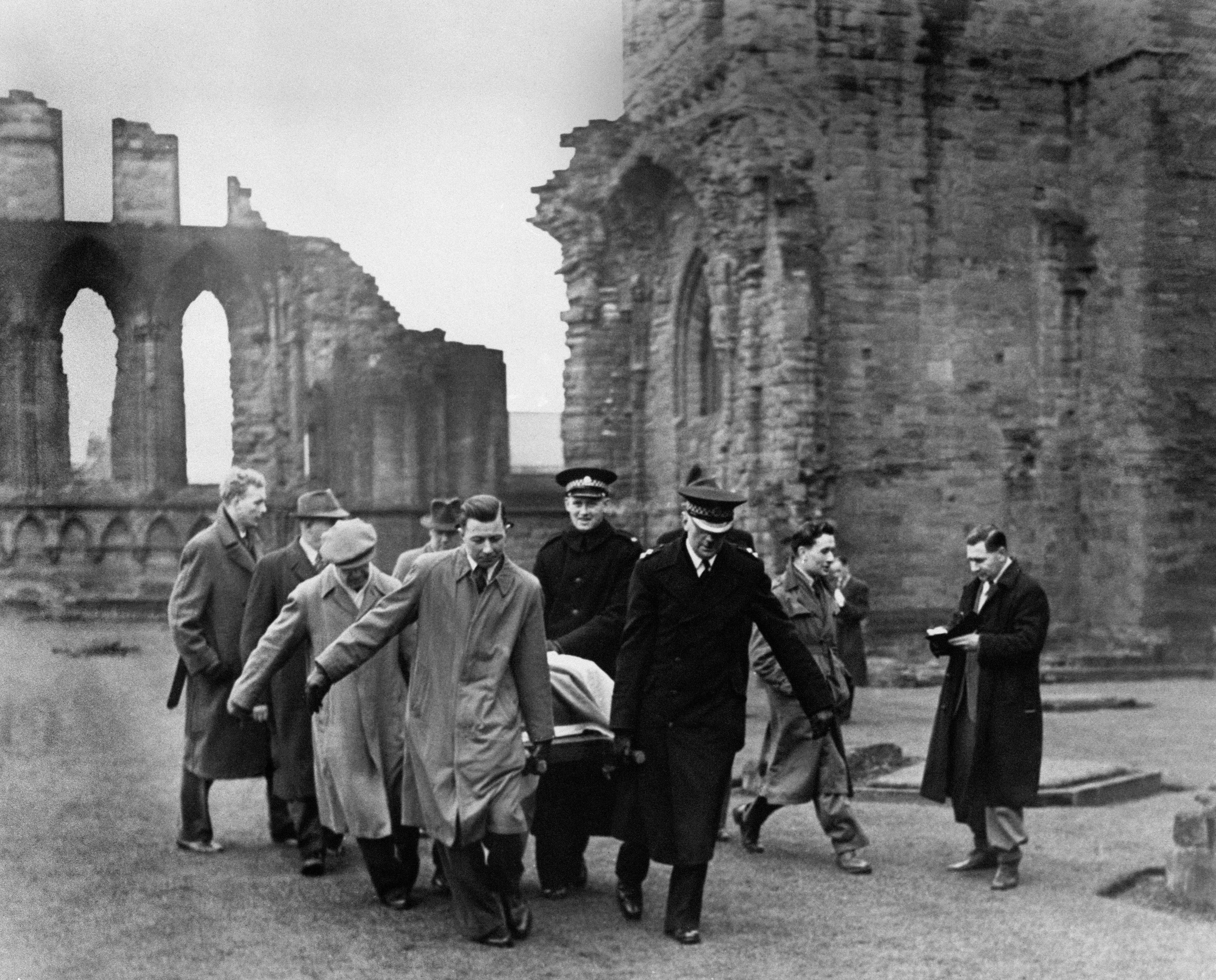 The Stone of Scone - the Scottish Stone of Destiny - missing from Westminster Abbey since Christmas Day, 1950 - being removed from Abroath Abbey, Forfarshire, Scotland after being handed to the Custodian of the Abbey James Wiseheart by Scottish Nationalists.