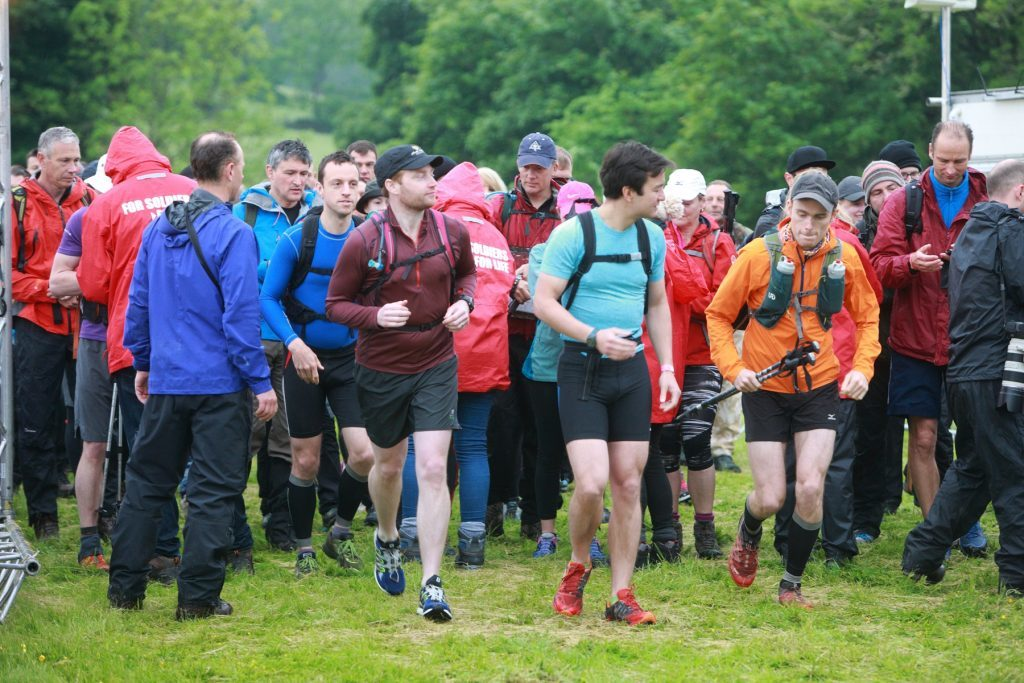 Walkers set out at the start.