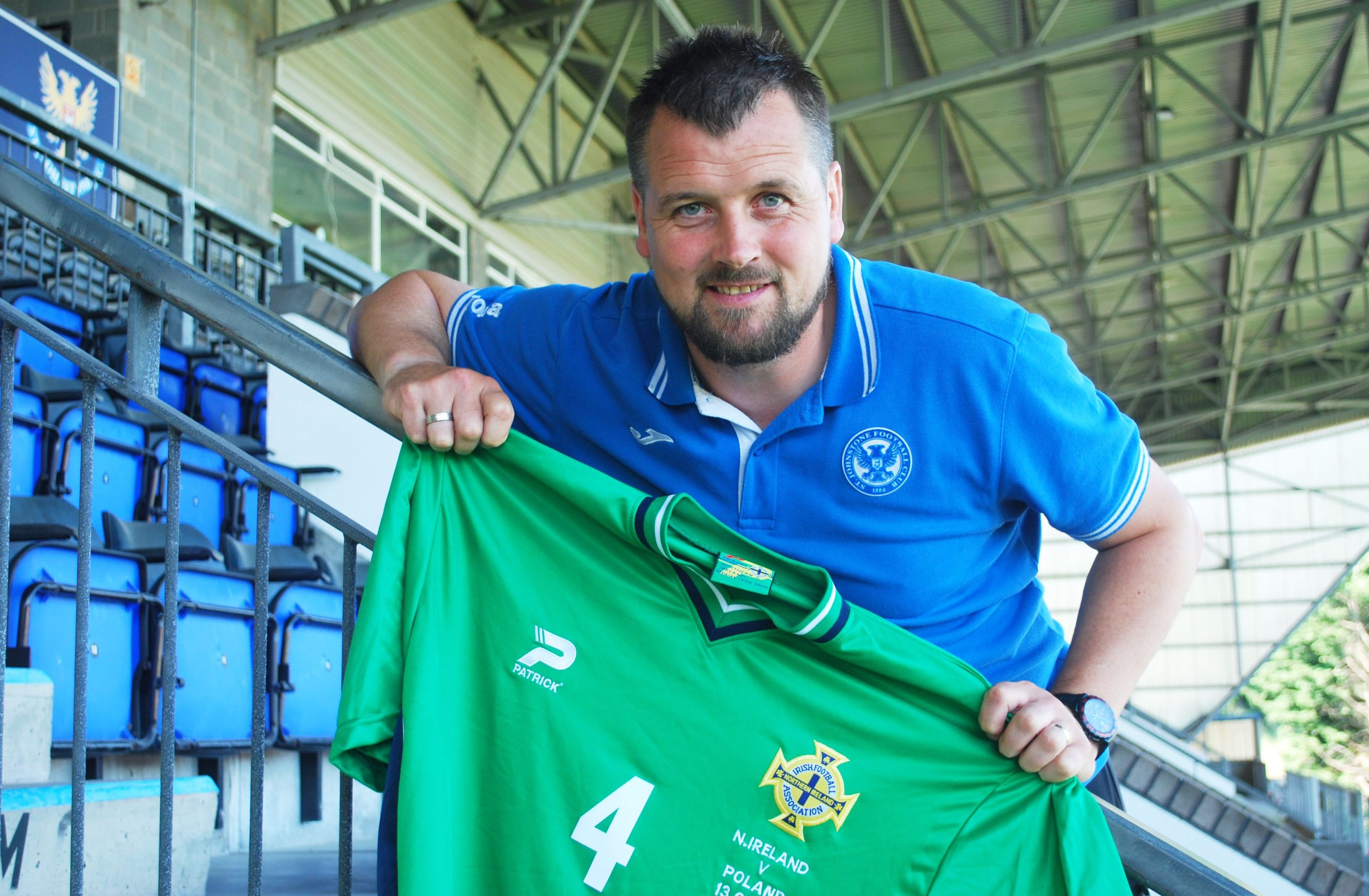 Danny Griffin with one of his Northern Ireland shirts.
