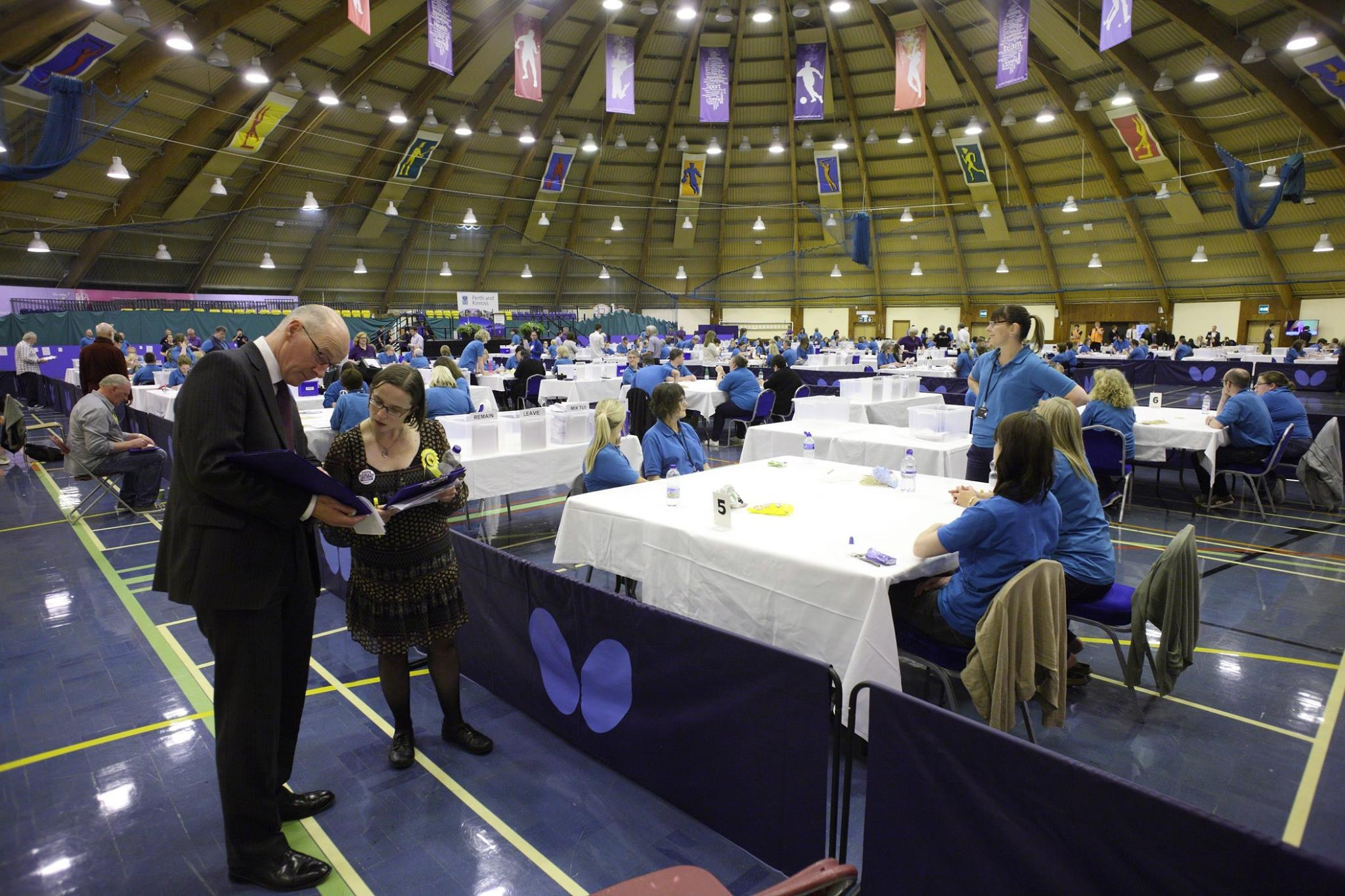 John Swinney at the Perth and Kinross count.