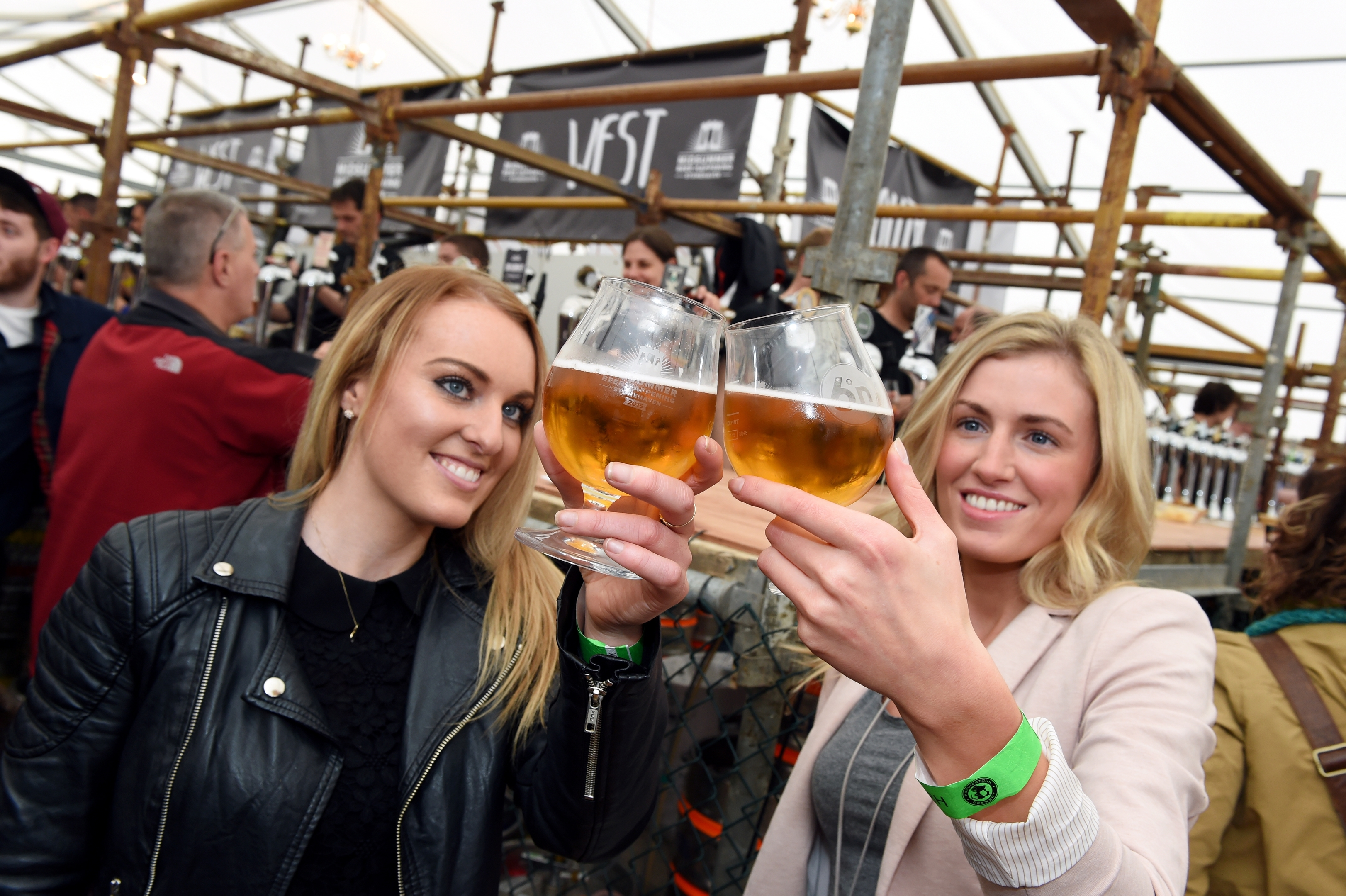 Claire Millar and Karen Sinclair at the inaugural Midsummer Beer Happening taking place in Stonehaven's Baird Park.