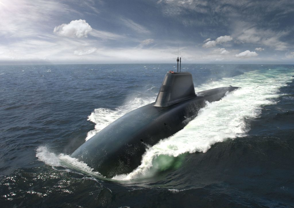 An artists impression of the submarines due to replace the Vangard-class boats which carry Trident missiles.