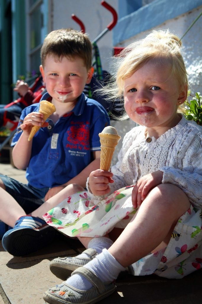 Pittenweem Harbour already draws the crowds on sunny days. Pic shows Paul and Kaytlin Thomson enjoying an ice cream at the harbour.