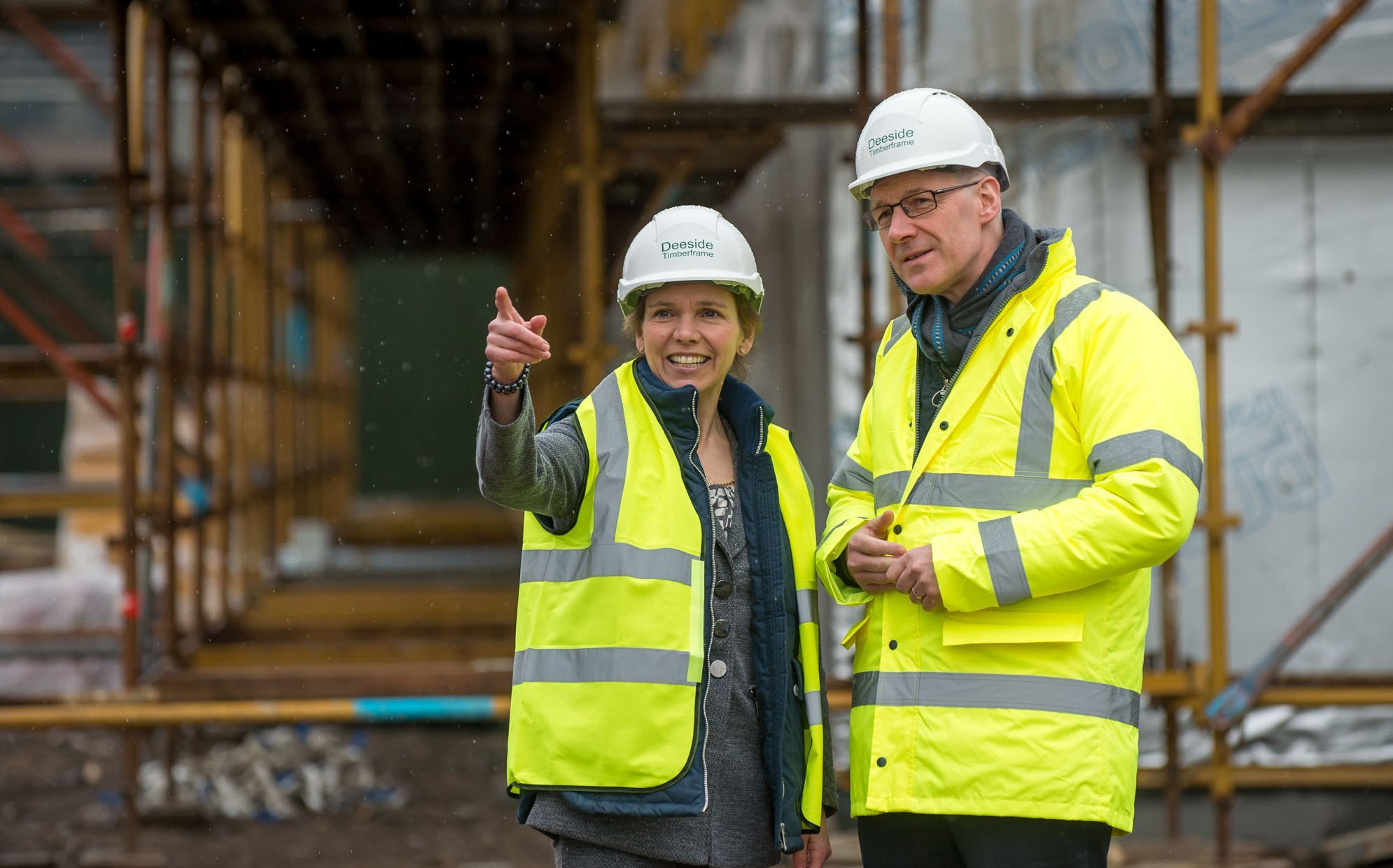 Hazel Peplinski, chief executive of Perth racecourse, with John Swinney  during the construction of the new facility.