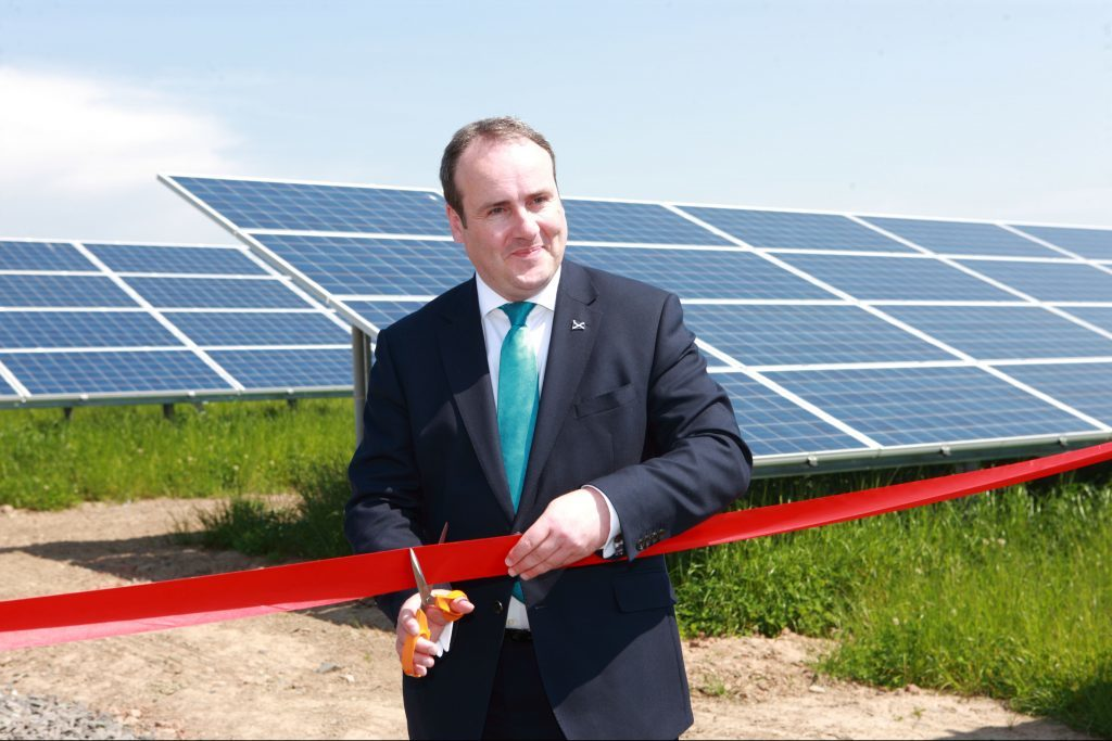 Business, innovation and energy minister Paul Wheelhouse officially opened Scotland's largest solar farm on the Errol Estate.