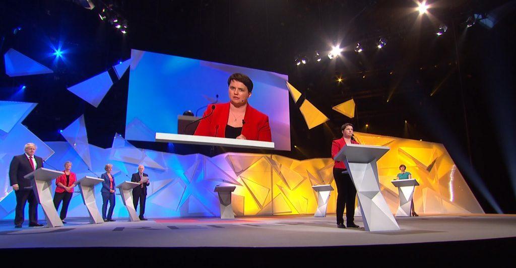 Scottish Conservative leader Ruth Davidson makes her final speech during the BBC's EU debate.