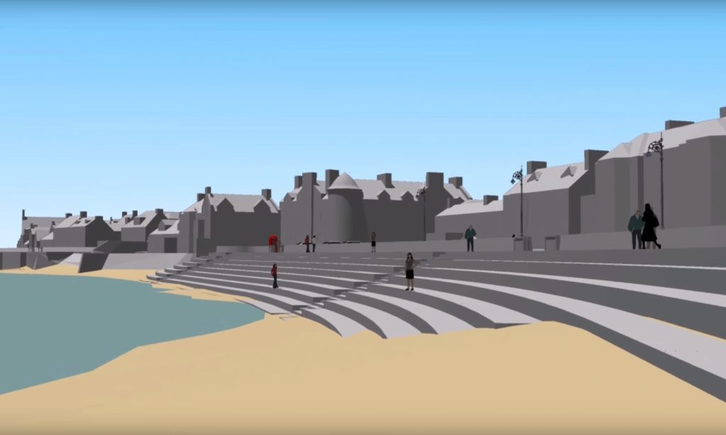 The early plans show the current steep wall at Beach Crescent being replaced by a tiered seating area.