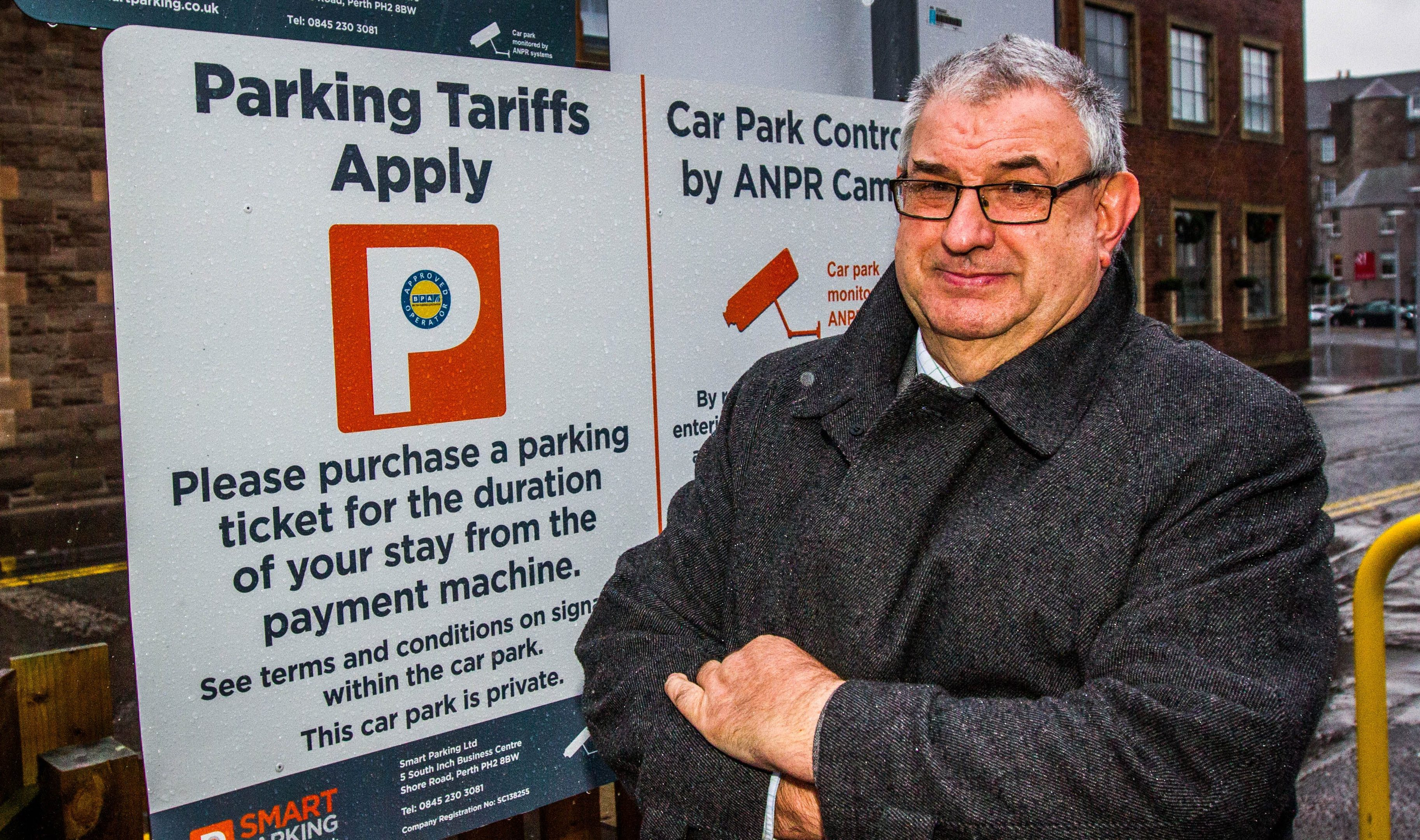 Councillor Henry Anderson at the Mill Street car park when it was run by Smart Parking.