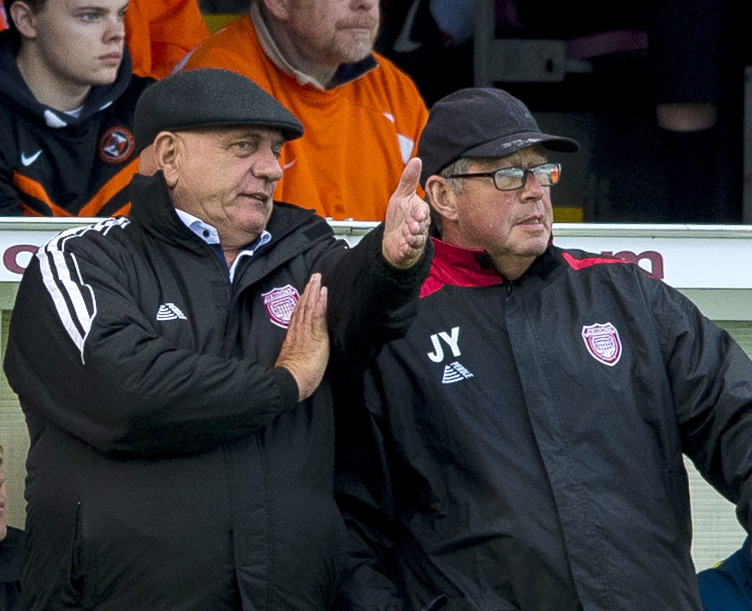 Arbroath manager Dick Campbell (left) and coach John Young.