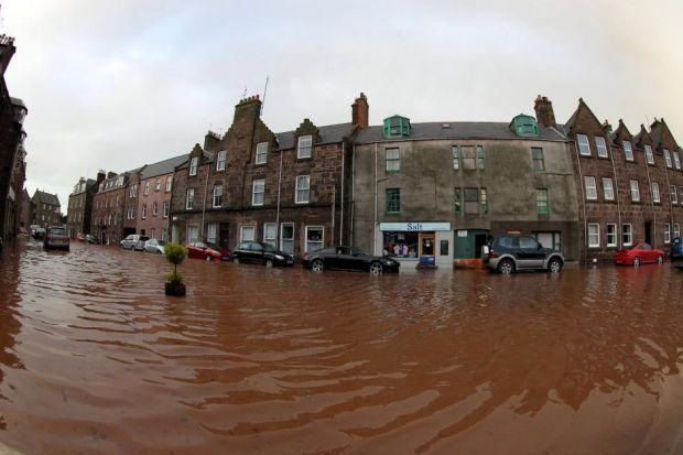 Stonehaven during flooding in 2012.